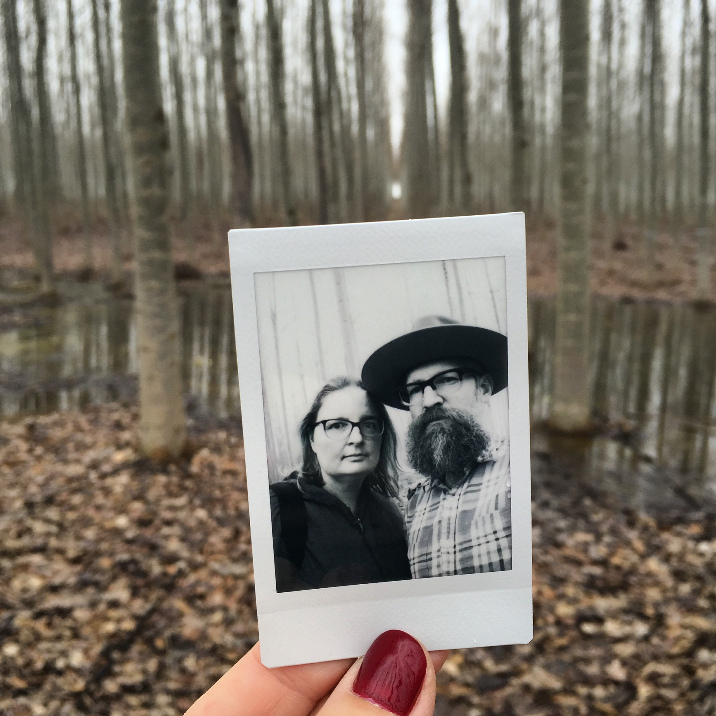 And of course, we had to make a final stop by the tree farm on our way to Montana.  There are a couple small sections still standing but the majority of the farm is gone. (Heather - iPhone and instax).