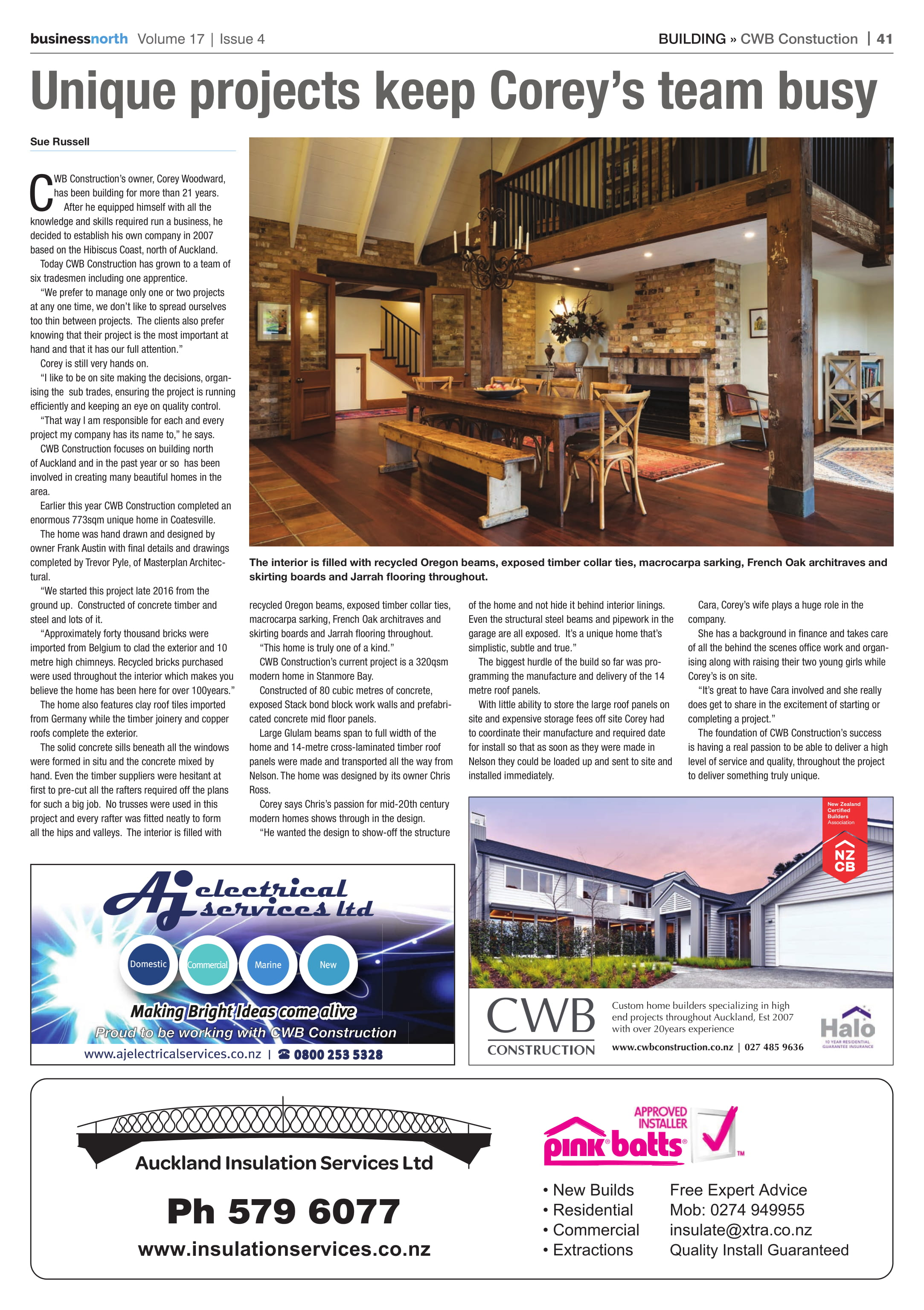 The Coatesville Residence was recently featured in Business North - Sept 2018