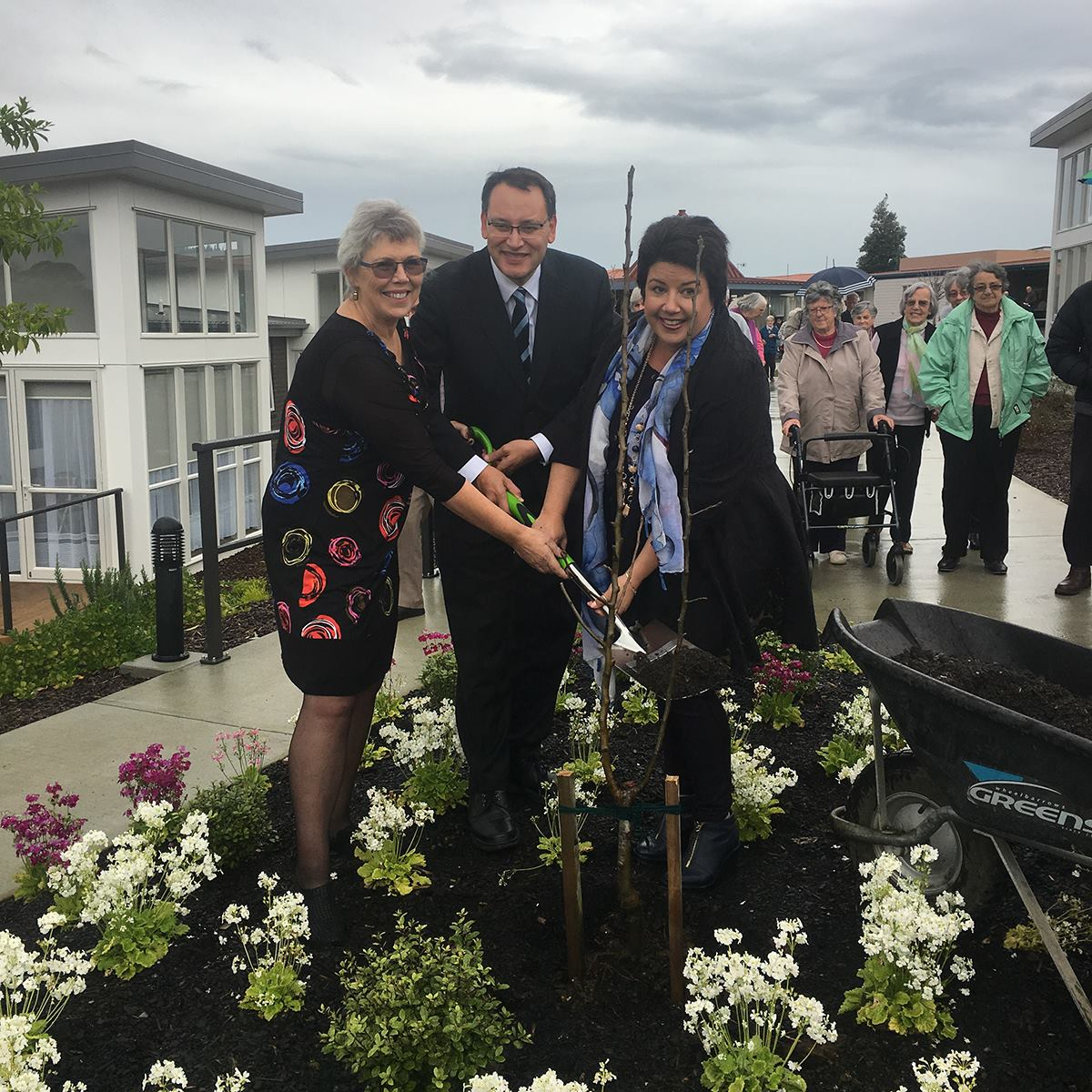 Paula Bennett celebrating the opening of Stage 2 of the expansion at The Falls Estate with a tree planting ceremony.