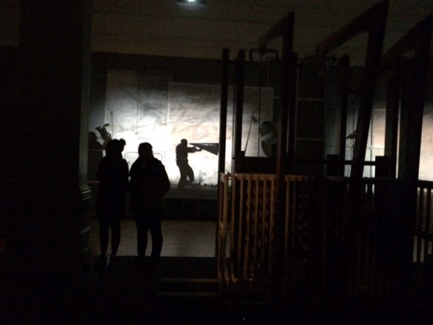 "Students discussing the ways of conserving William Kentridge's ""Refusal of Time"" as installed at the National Gallery, Iziko Museums, Cape Town, South Africa.  Image courtesy of the Iziko Museums."