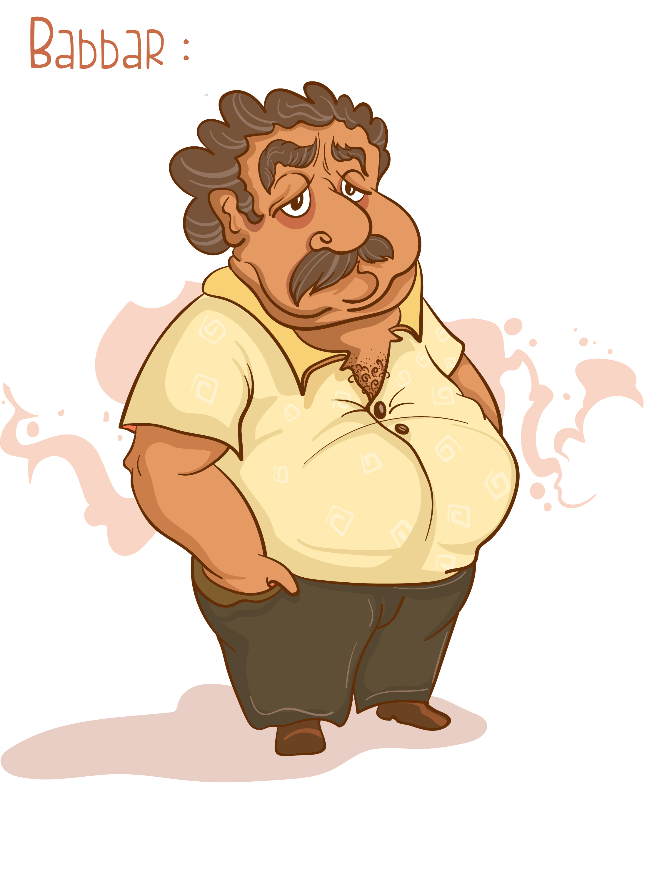 Babbar (Father) character design  Character Description: lazy, old, slow, droopy eyes, frequent drinker.