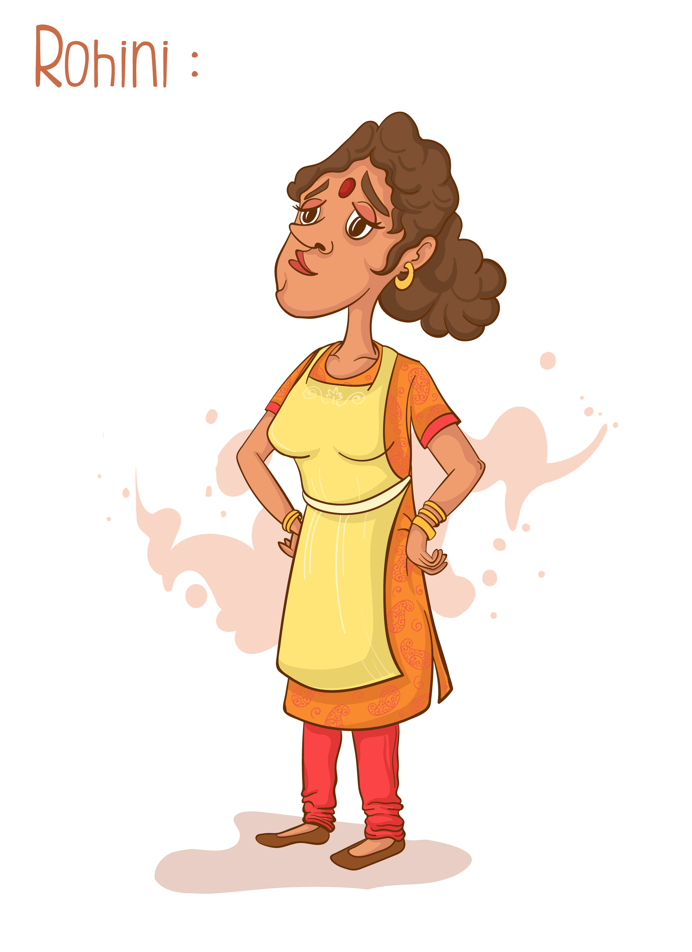 Rohini (Mother) character design  Character Description: very organized and clean, tall, fit but tired of cleaning up after her husband.