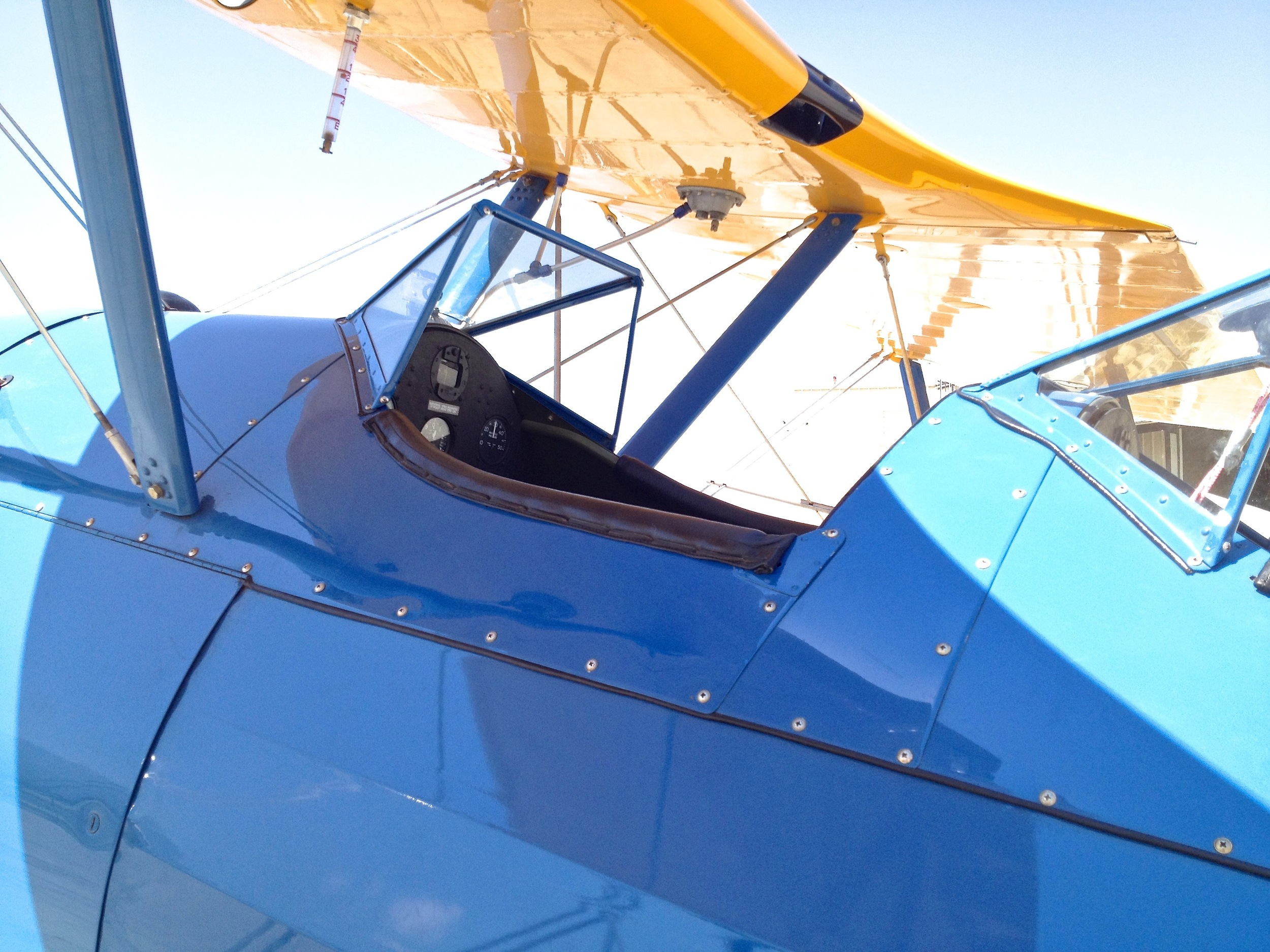 Front cockpit of the Stearman Primary Flight Trainer