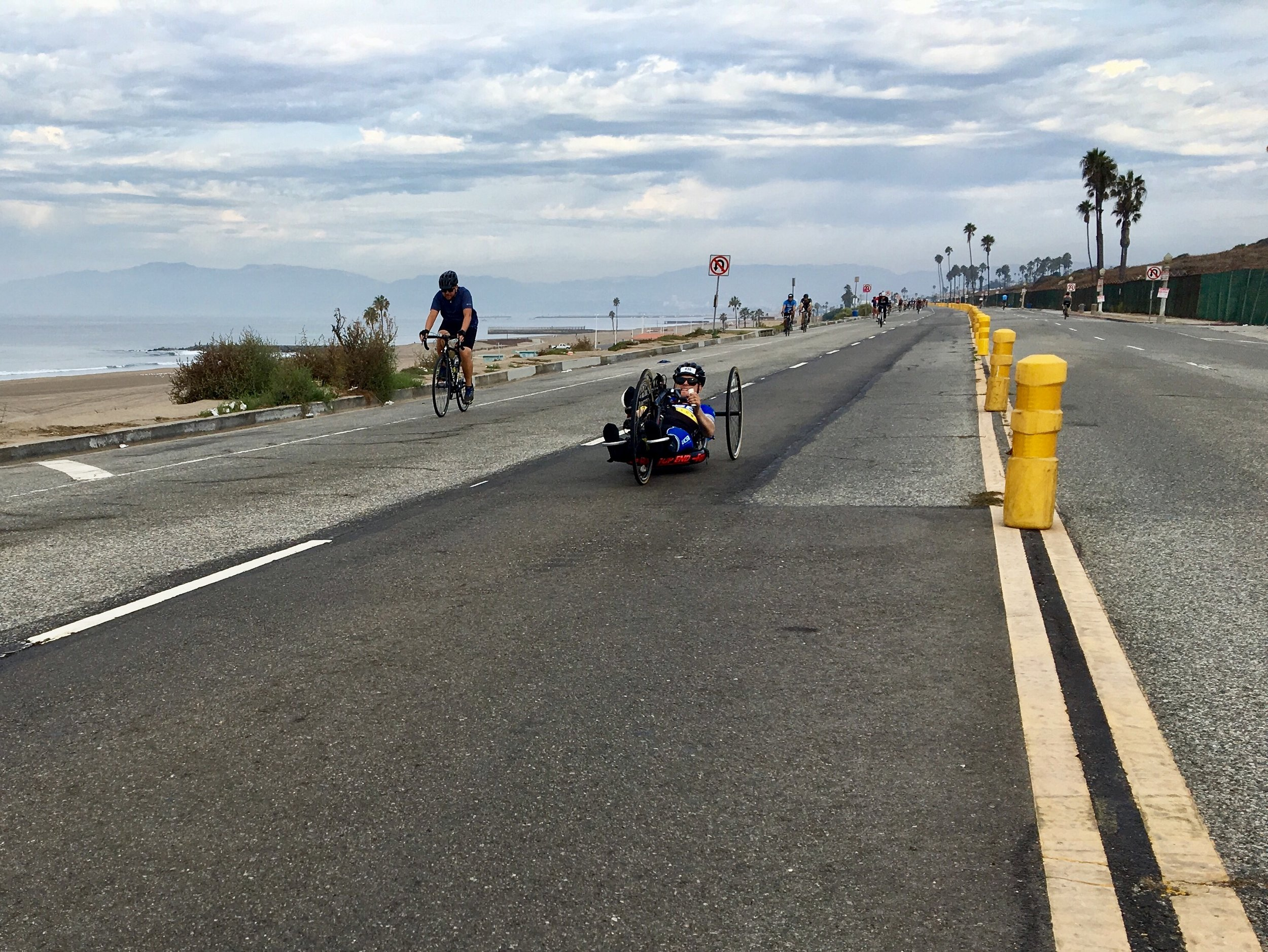 Ryan flying on his handcycle