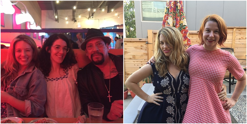 Left: Katherine, Michelle Lanz - Podcast Producer, & Danny Trejo (Episode 25). Right: Katherine and Eva Anderson (Episode 4).