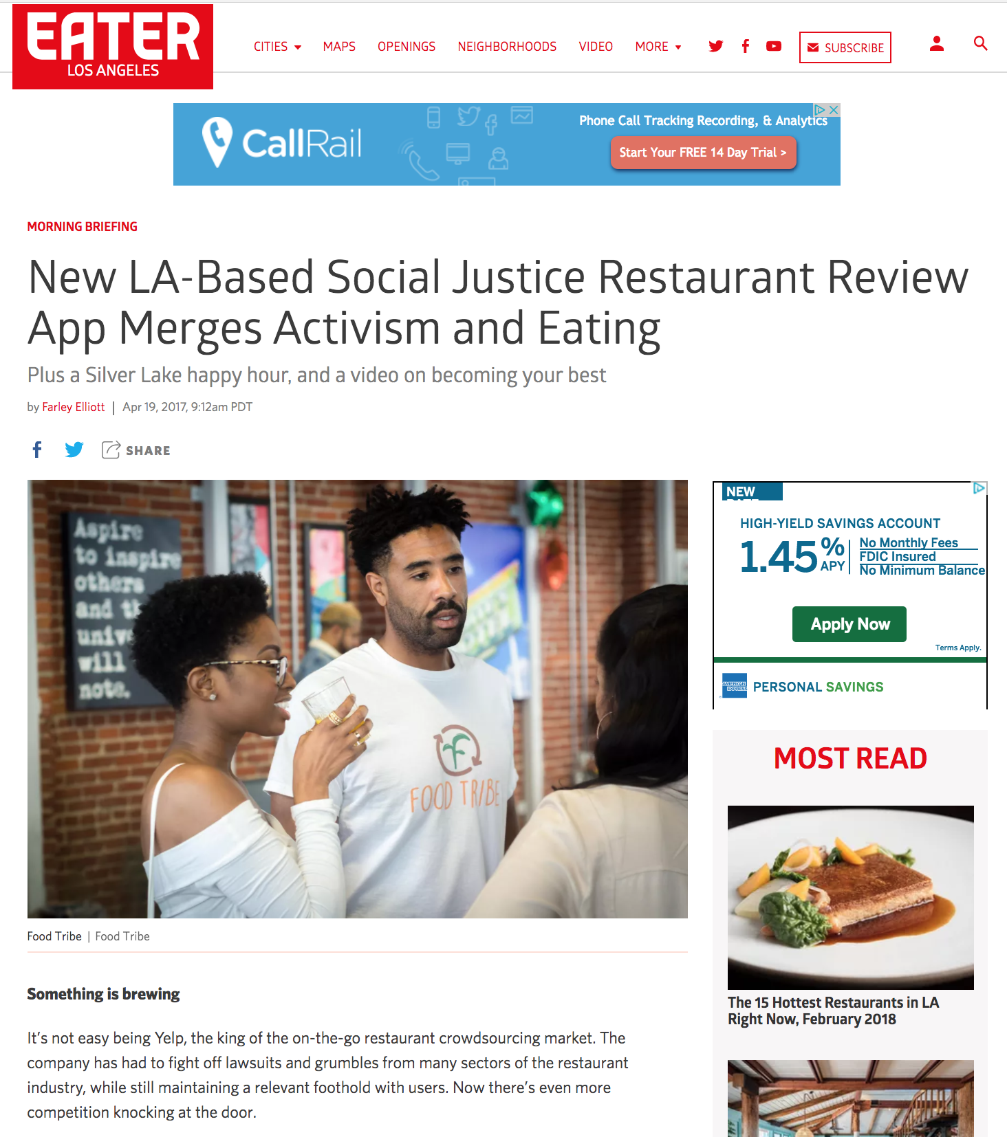 Check out Food Tribe's feature in food news site + blog Eater LA. - Founded in 2015 as a Food Blog, Food Tribe has evolved into so much more.In 2017 we raised 80% of our crowdfunding goal on platform Indiegogo.Our #JoinTheTribe: Foodies Feeding Foodies was a campaign we launched in order to raise the funds we need in order to build a socially conscious restaurant review platform.