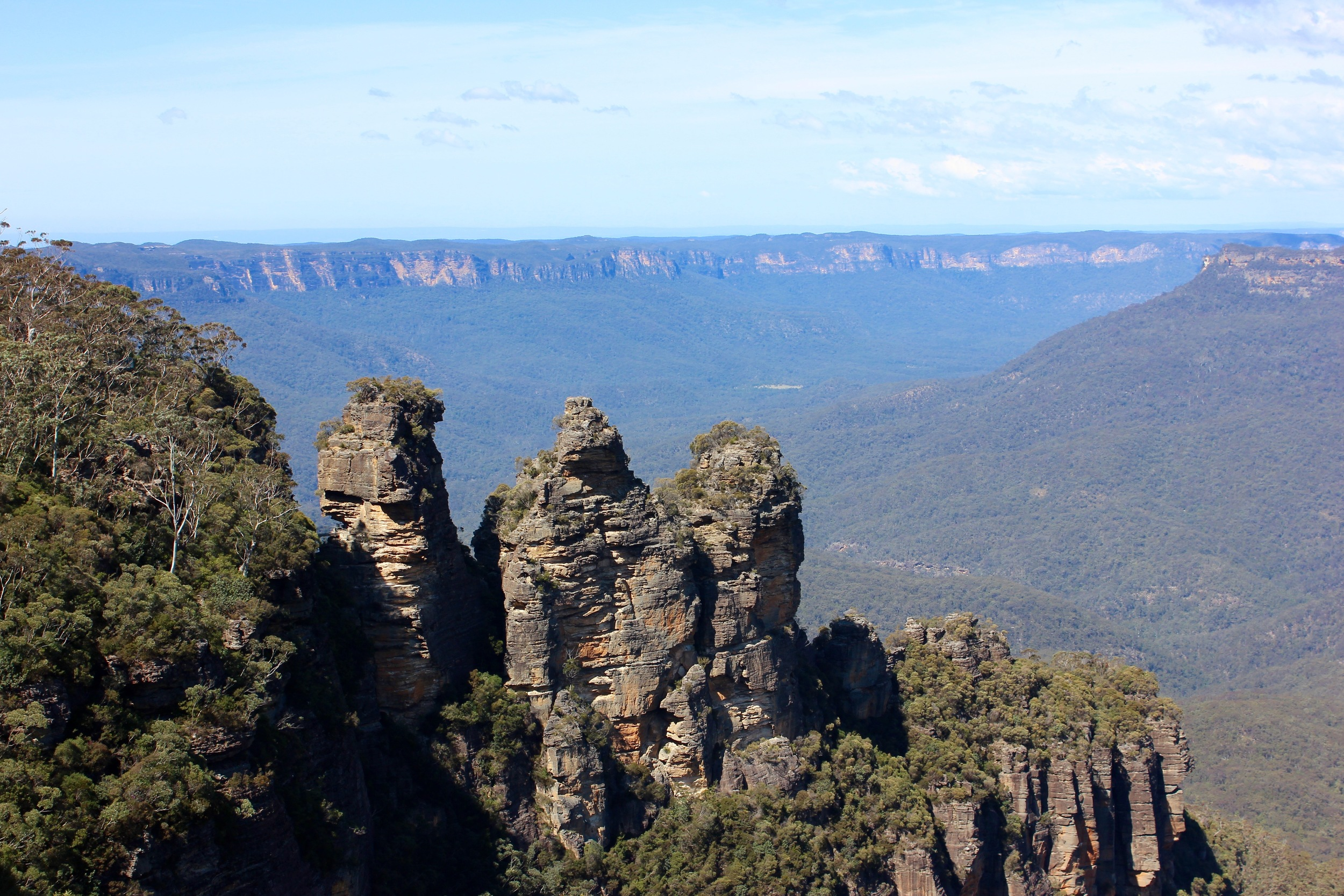 Three Sisters (Blue Mountains)- they get their blue look from the gas emitted by the Eucalyptus plants.