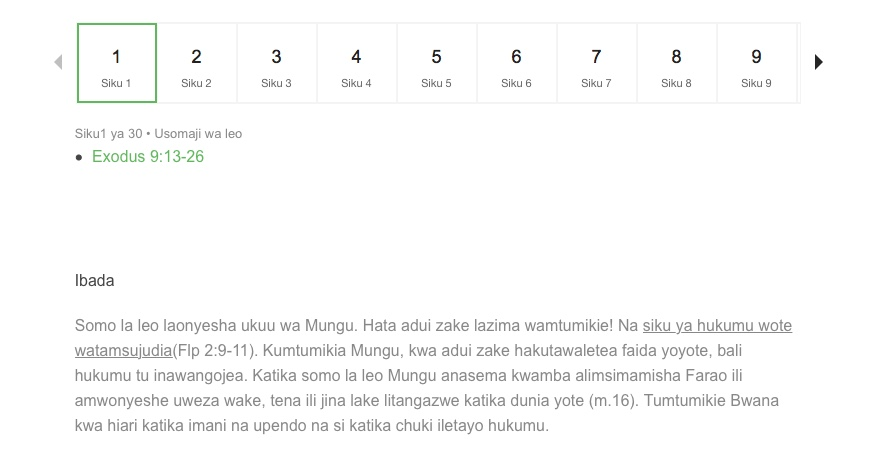 Example of a daily plan from Soma Biblia Kila Siku