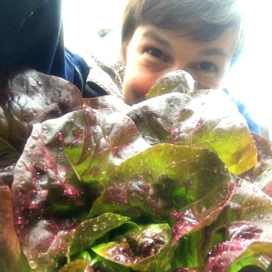 Meghan Stobbe with lettuce