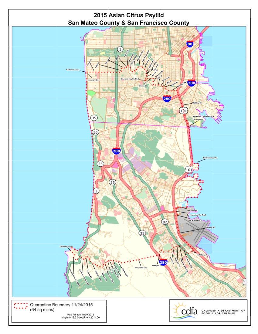 San Mateo & San Francisco quarantine map