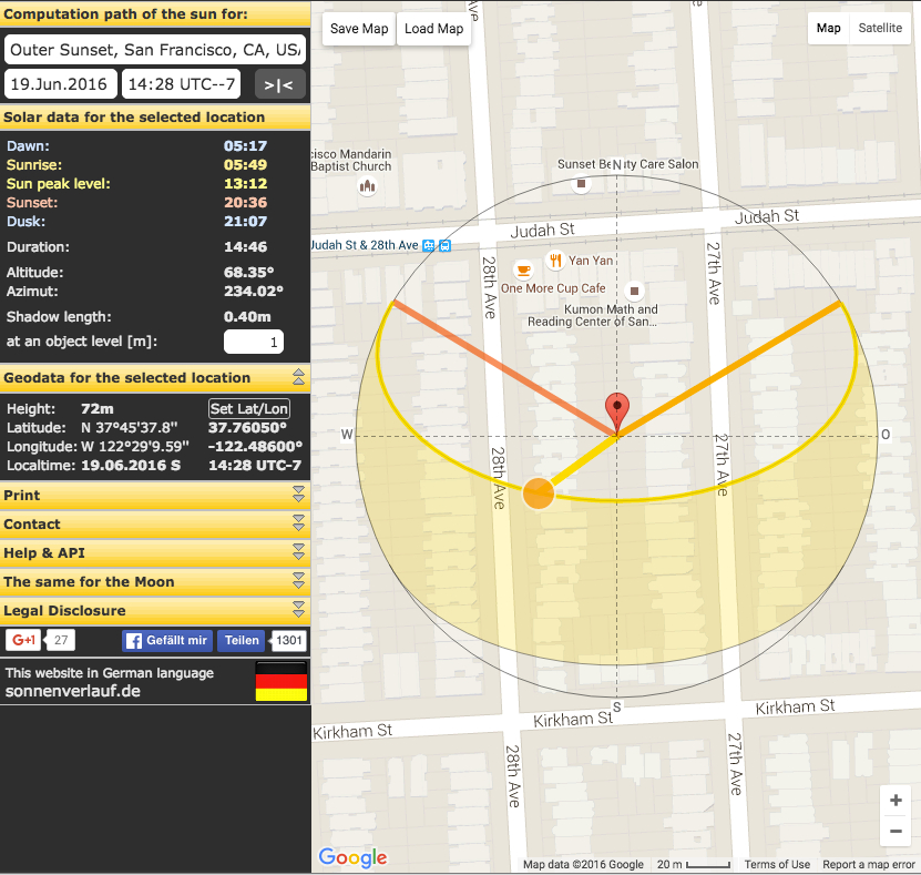 Sun Calc Org calculating my home's sun exposure.