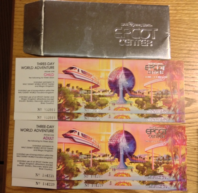 Unused commemorative tickets to the opening year of EPCOT Center