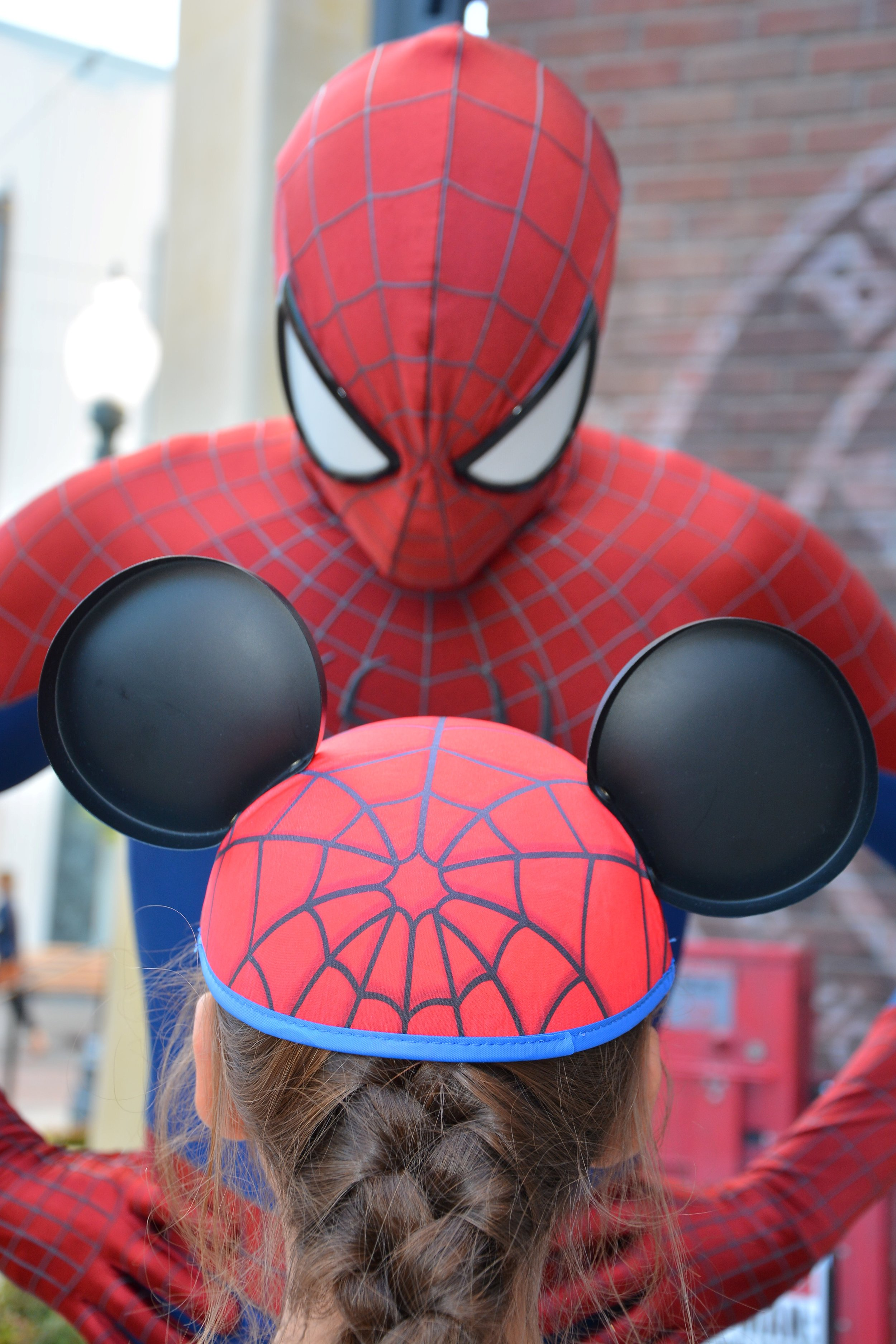 By the way, those are MY ears she borrowed for the meet and greet.  Daddy's a big Spidey fan as well.