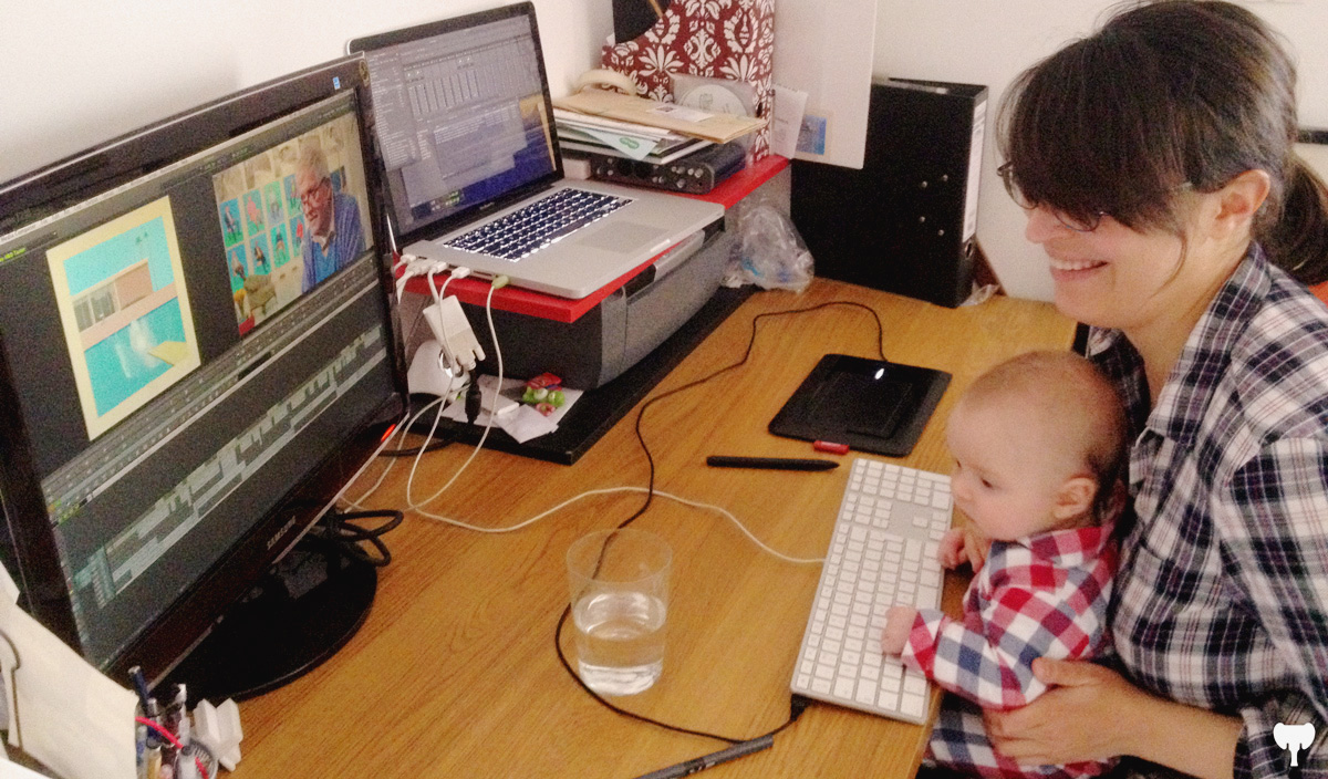 3 month old Tomas helping me finessing a nice little edit job in the old study