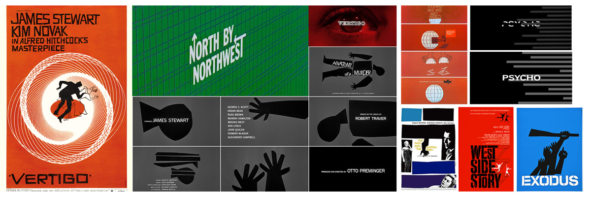 Some of Bass' iconic posters and film title sequences spanning his 40 year long career
