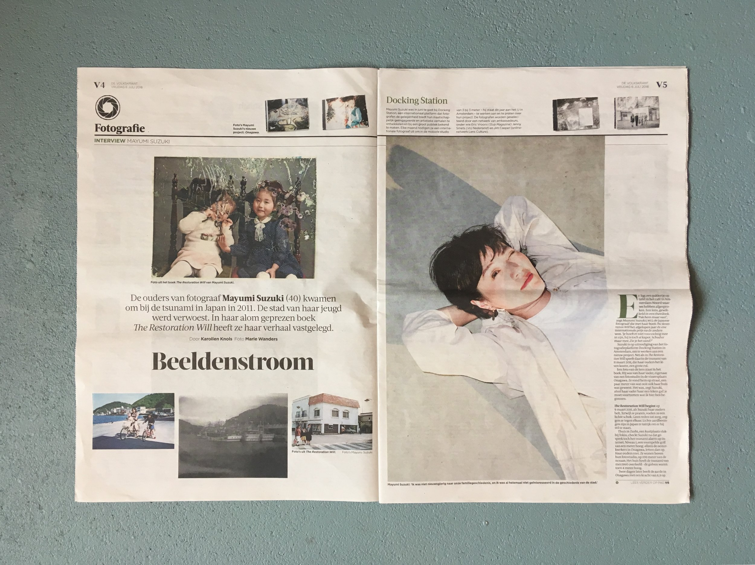 Publication about the project  The Place to Belong  From Mayumi Suzuki in the Volkskrant, 6 july 2018.