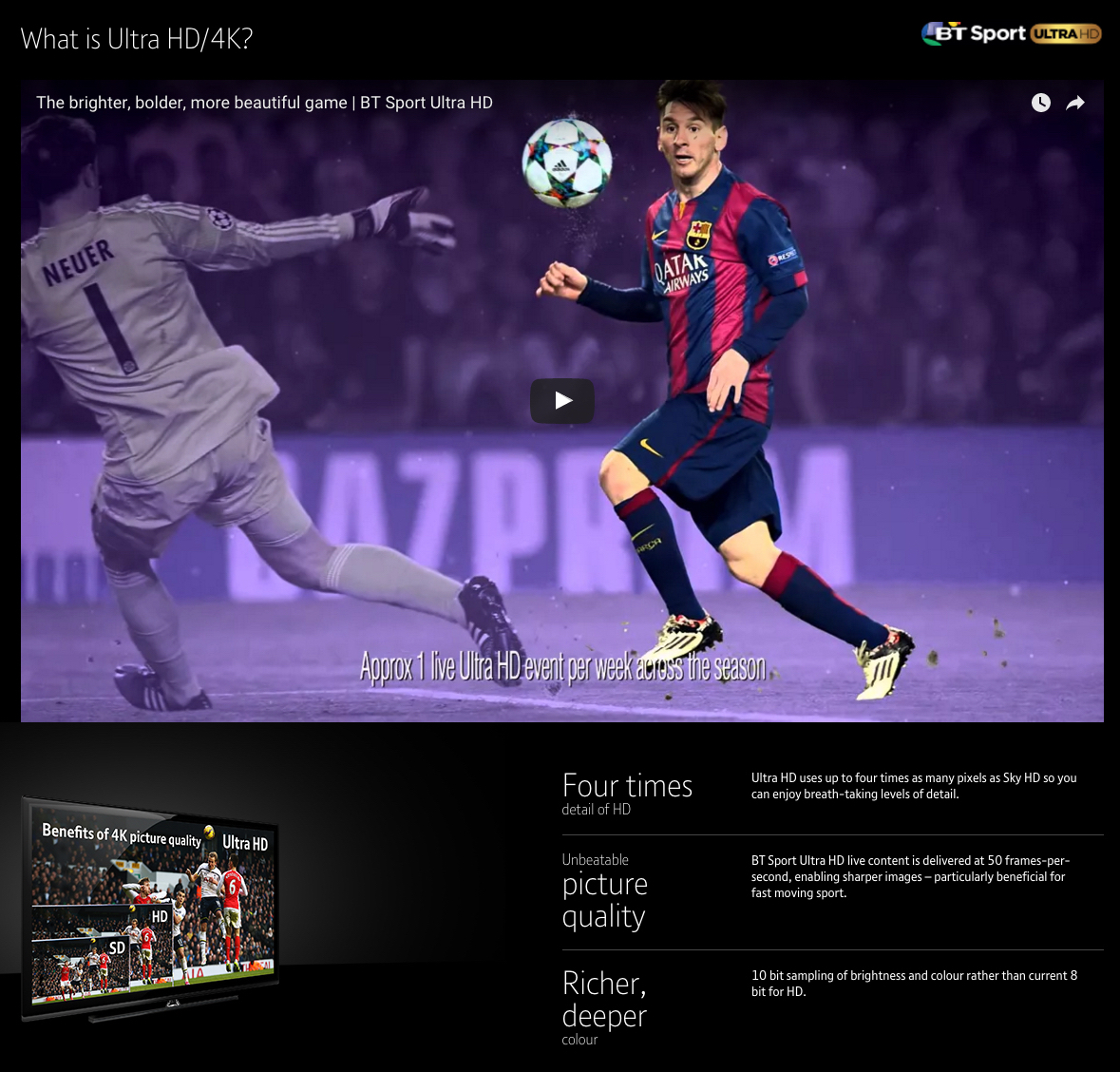 Ultra HD sport package from BT in the UK - Print screen from their website