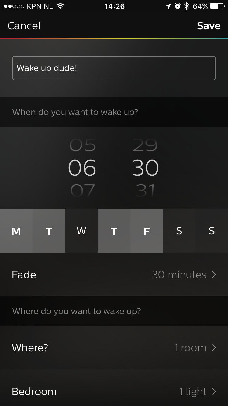 Wake up light settings