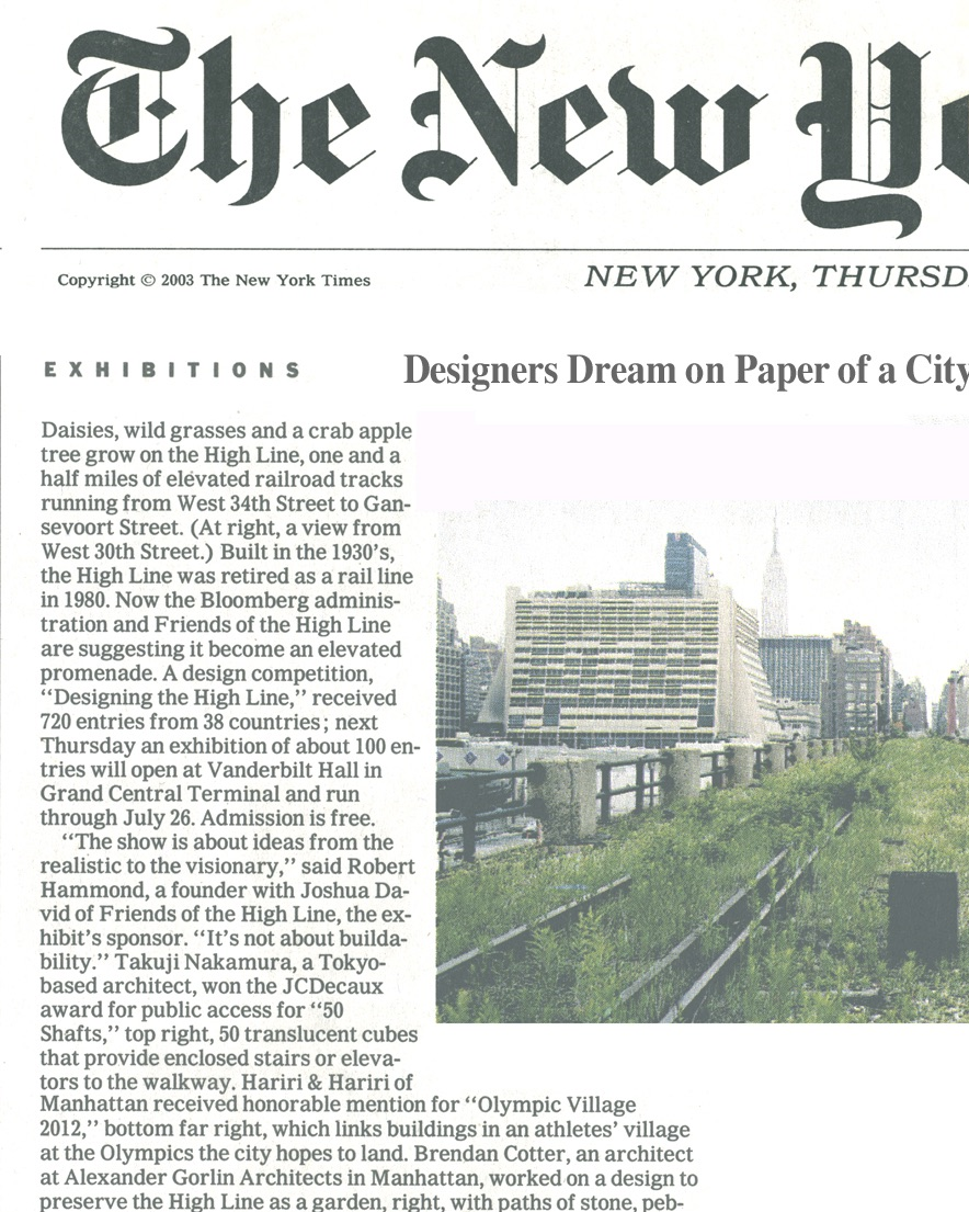 07.07.03 THE NEW YORK TIMES (HIGHLINE OLYMPIC VILLAGE)