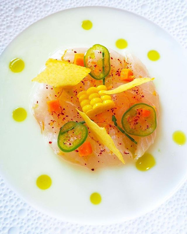 "TRIP GIVEAWAY! Visit the @visitcaymanislands and @aspentraveladvisors booth at the Aspen Food & Wine grand tasting tent to sign up for a FREE TRIP and @caymancookoutofficial 2020 exclusive offers (Hosted by @ericripert)! 🏝🛩🍷. #🐟 by @bluebyericripert RED SNAPPER ""Ceviche"", Sweet Potato, Jalapeño, Bitter Orange Emulsion."