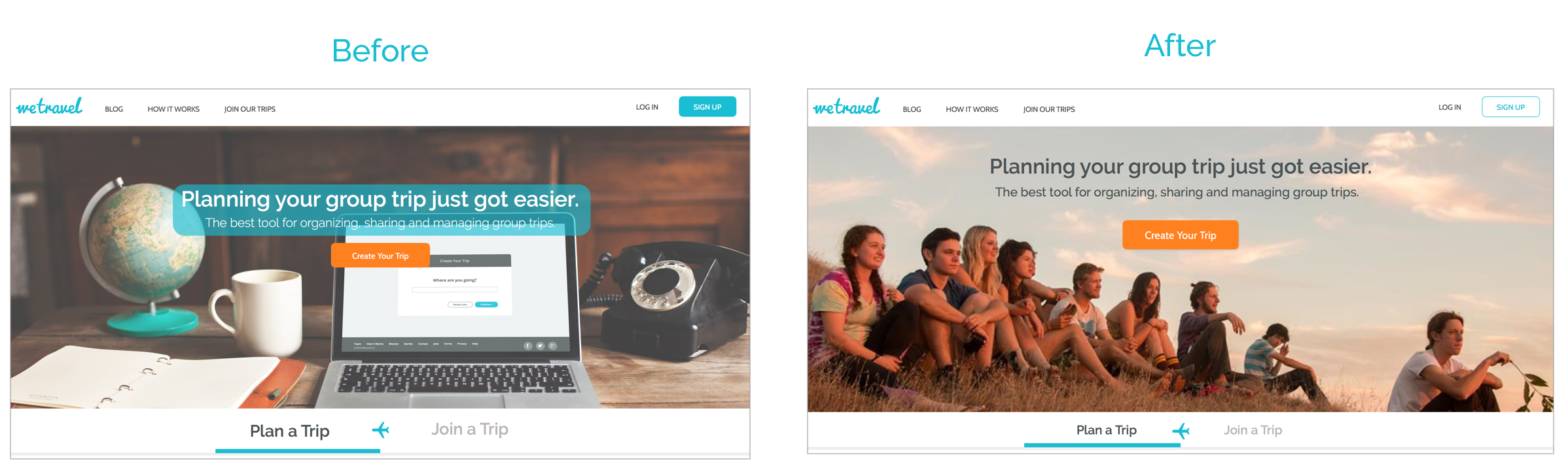 Landing page imagery before and after