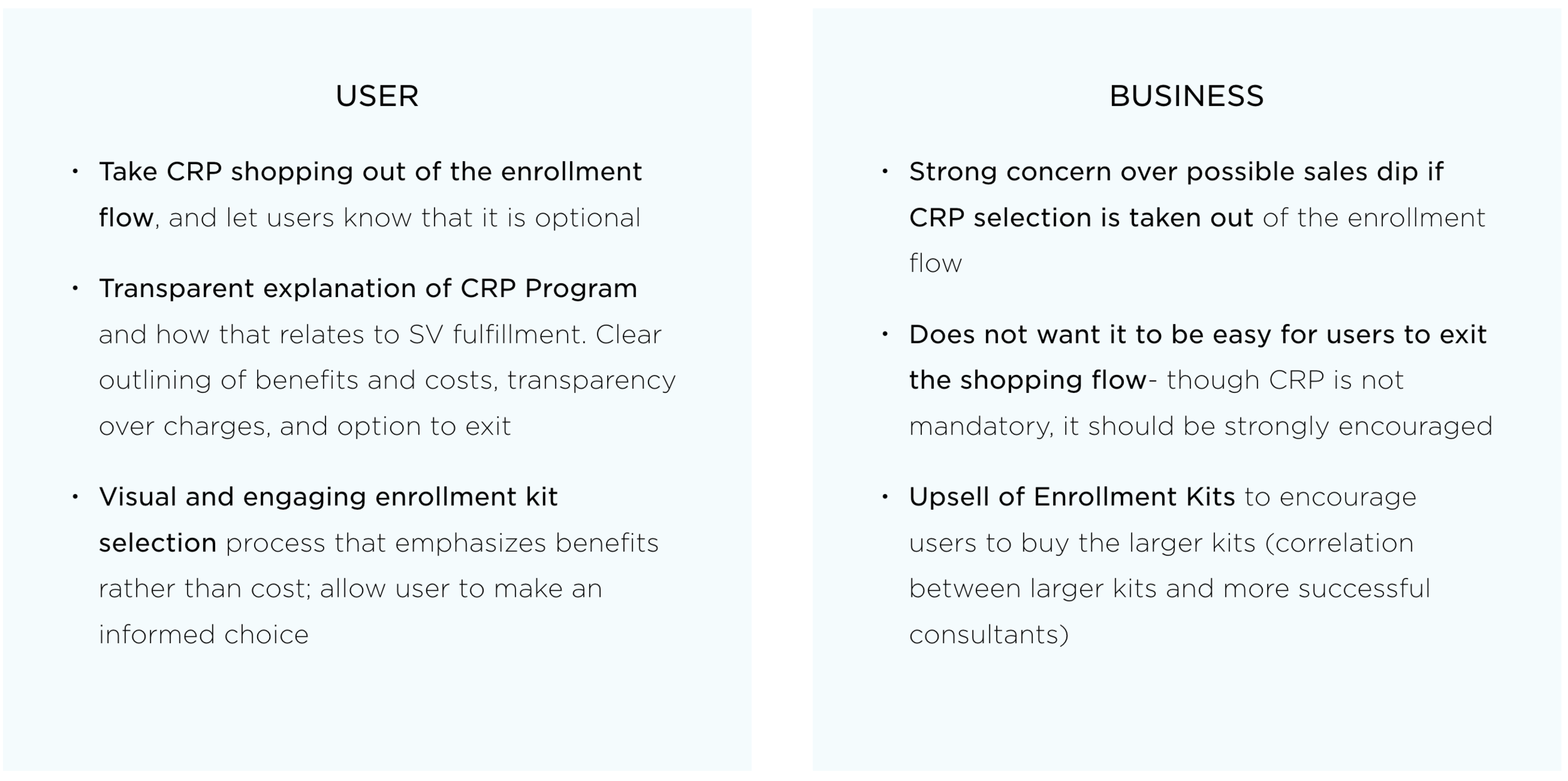 Balancing Business vs. User Requirements