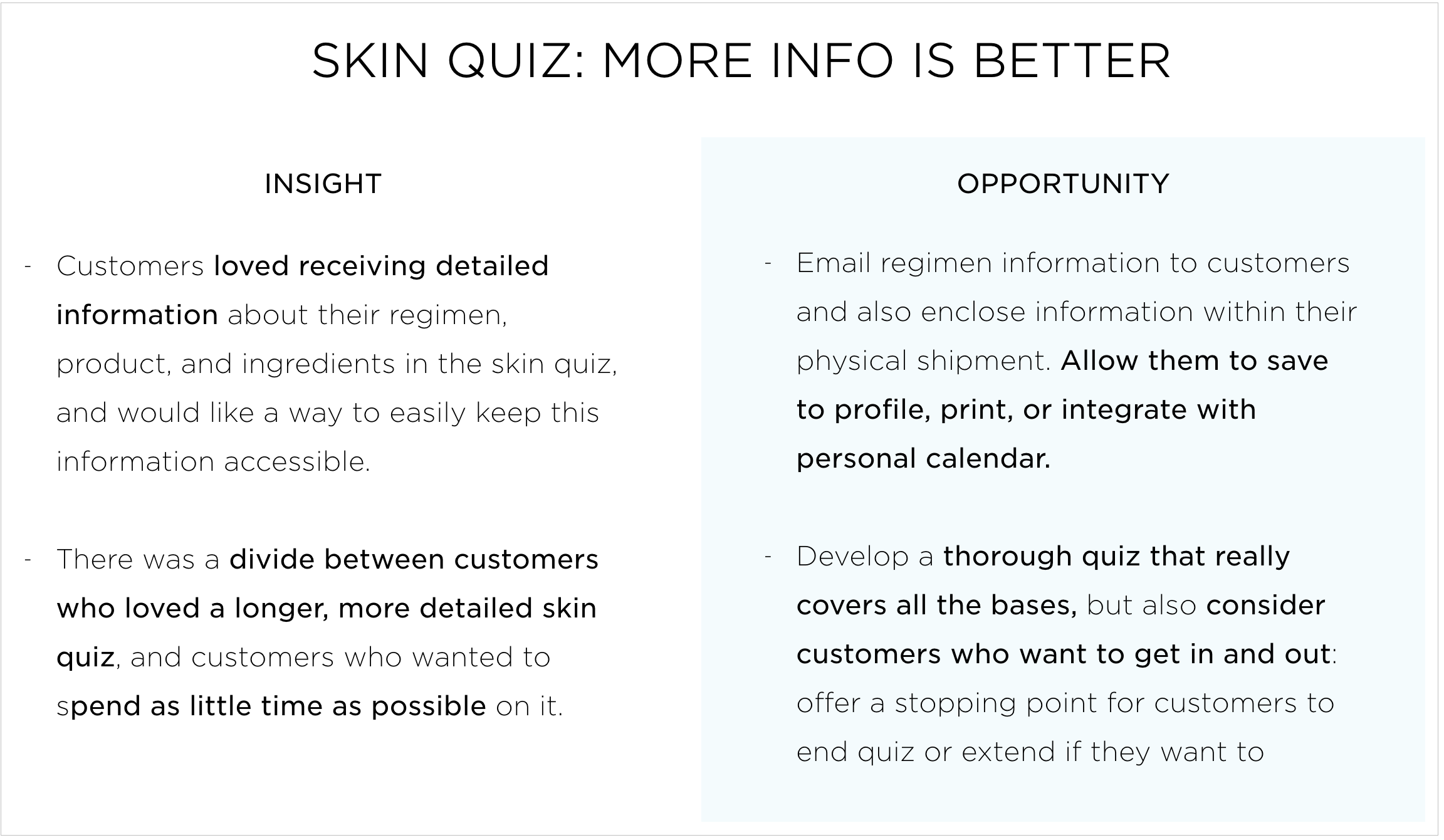 Selected feedback on the skin quiz
