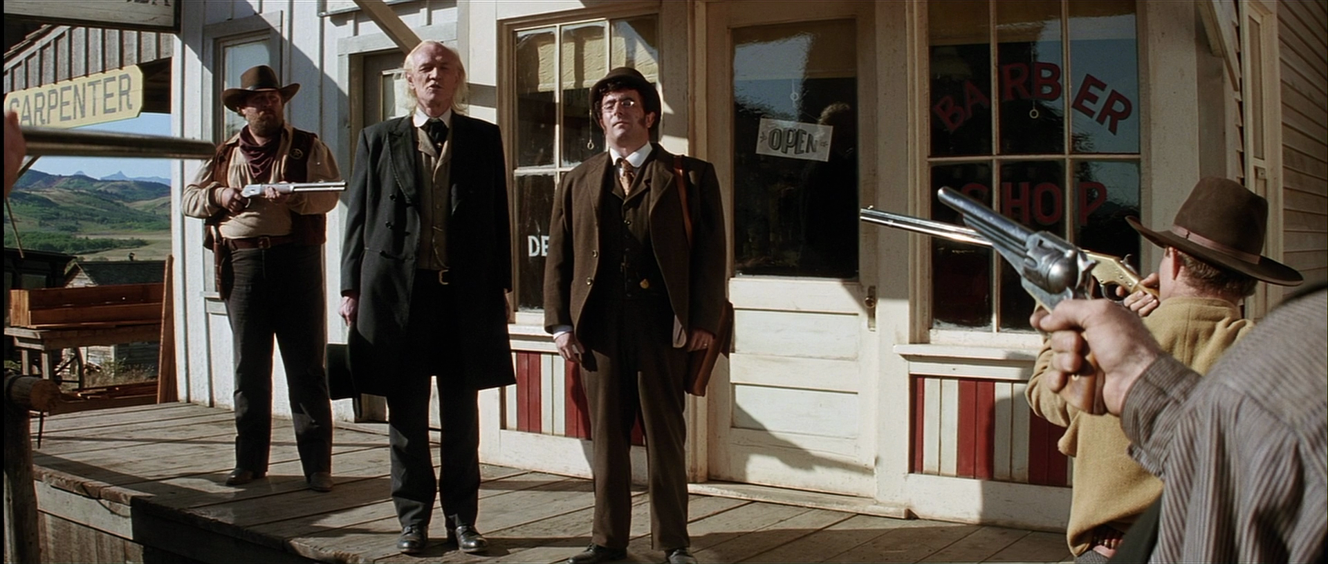 English Bob [Left] and W.W. Beauchamp [Right] being confronted by Little Bill's Deputies in Big Whiskey.