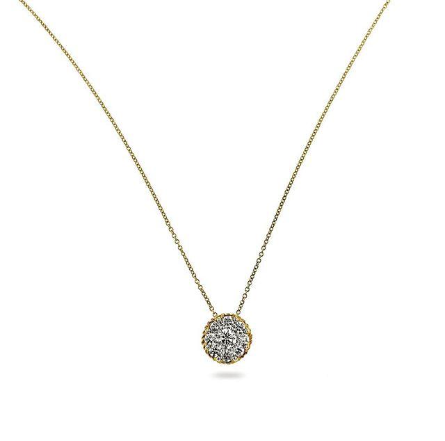 Diamond cluster with a rope edge. 1.00ct #jewelrypie #necklace #diamondnecklace #jcklasvegas2018 #jisexchange
