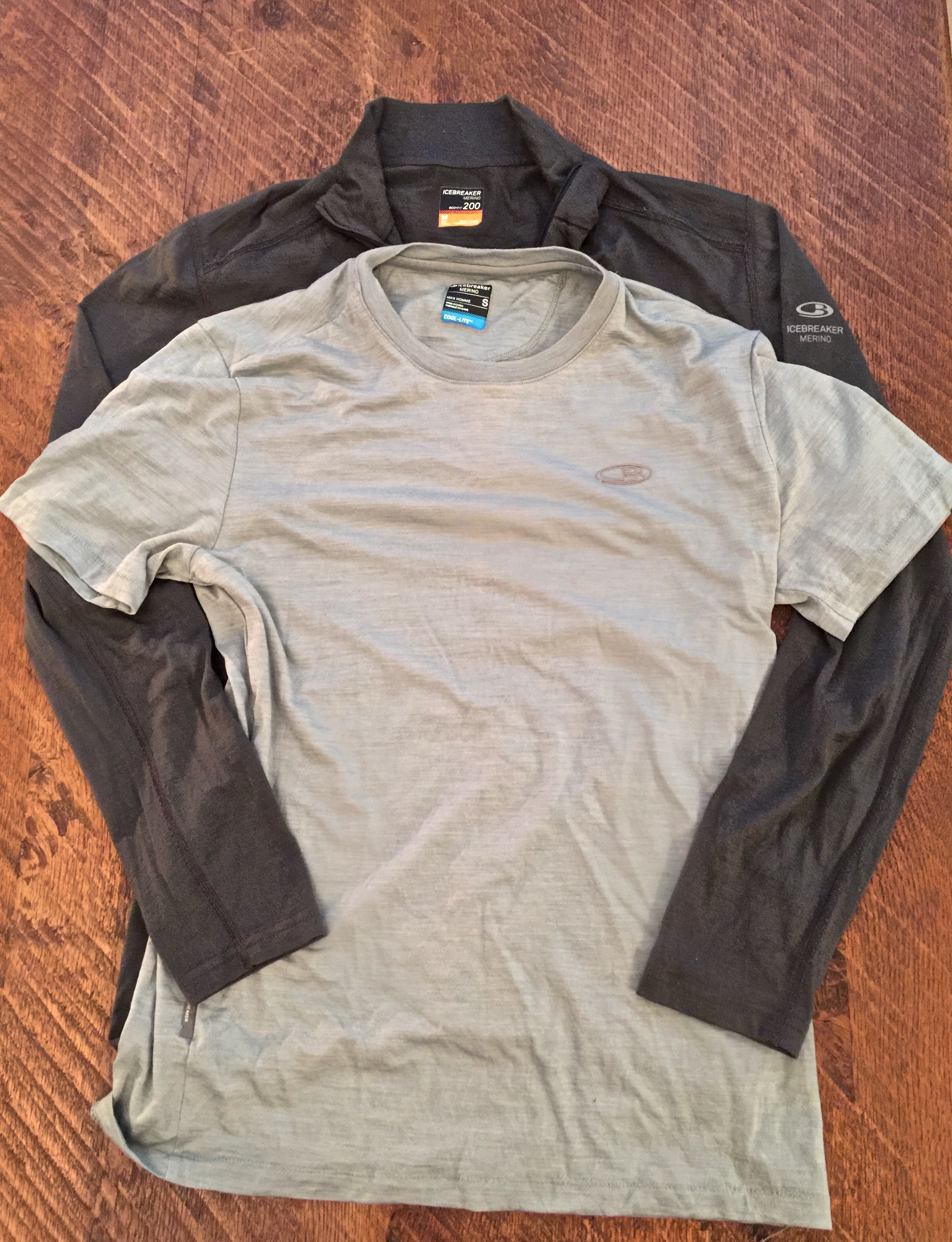 Here's my most common base layer combination. The t-shirt is 65% merino, 20% TENCEL, and 15% Nylon. It does have a tendency to smell more than other items, but it still does the job.