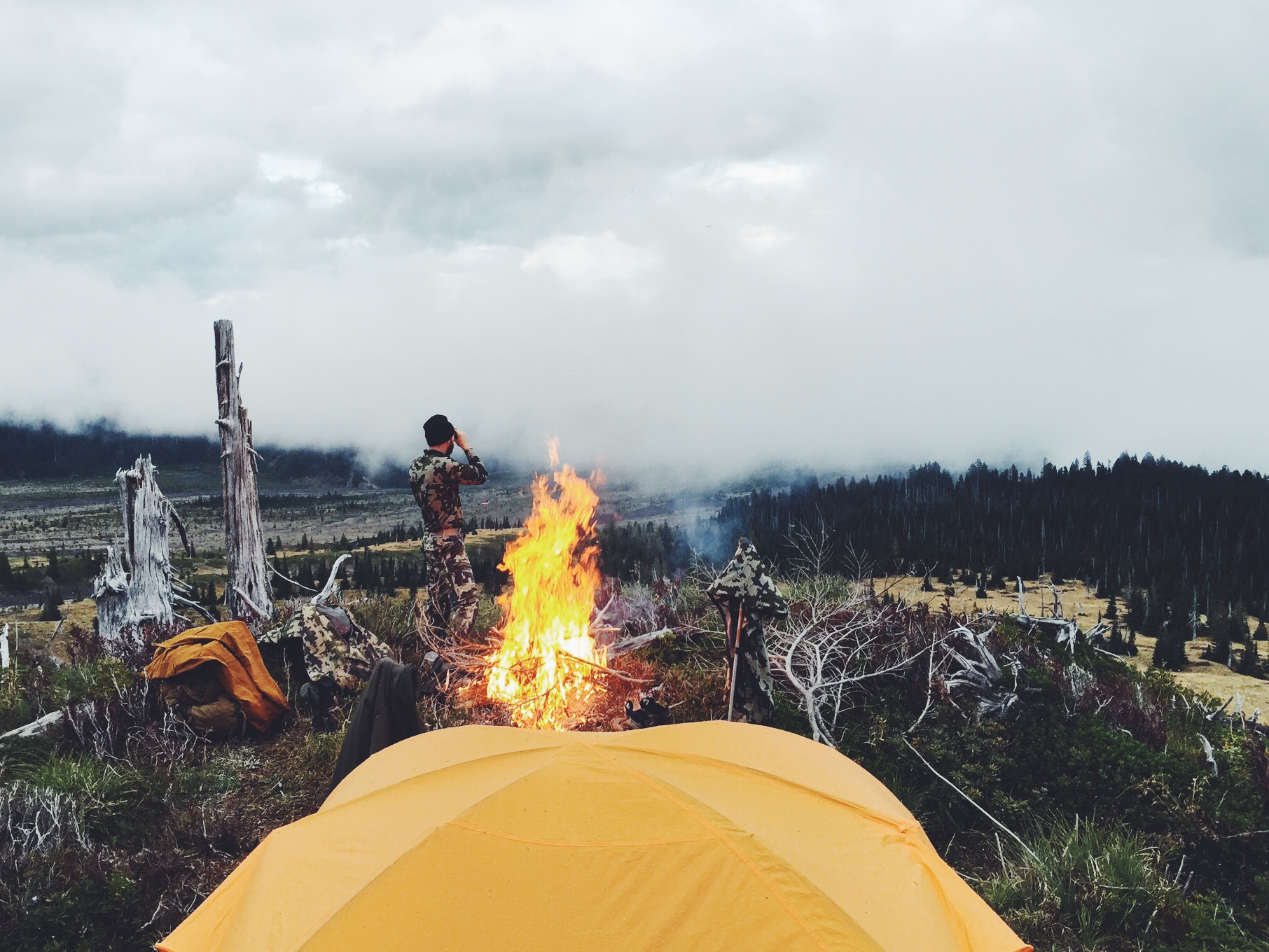 This shot was taken after the hike in when we were drying out our gear via bon fire.  Photo by Dustin Evans
