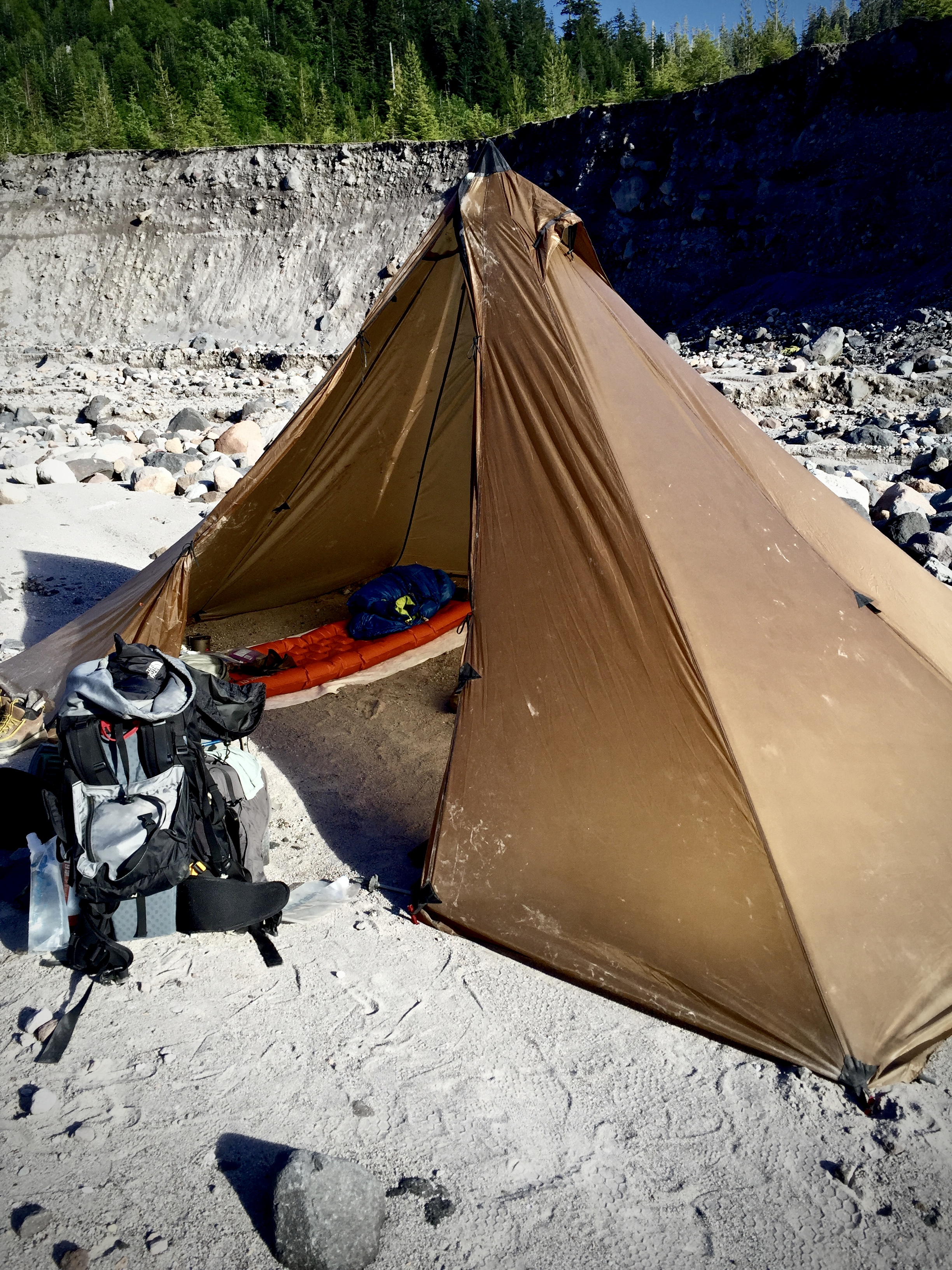 Pitched on a river bottom. Dirty, but still awesome. Have I mentioned I love this tipi?