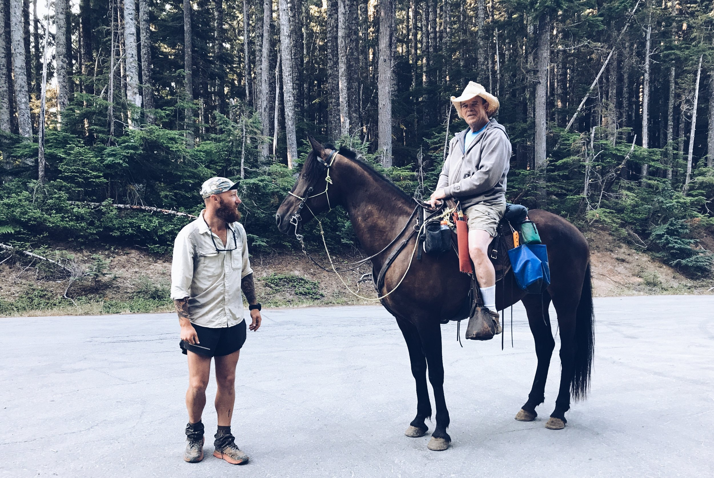 This guy has been riding his horse since the Southern Terminus. Crazy, right?
