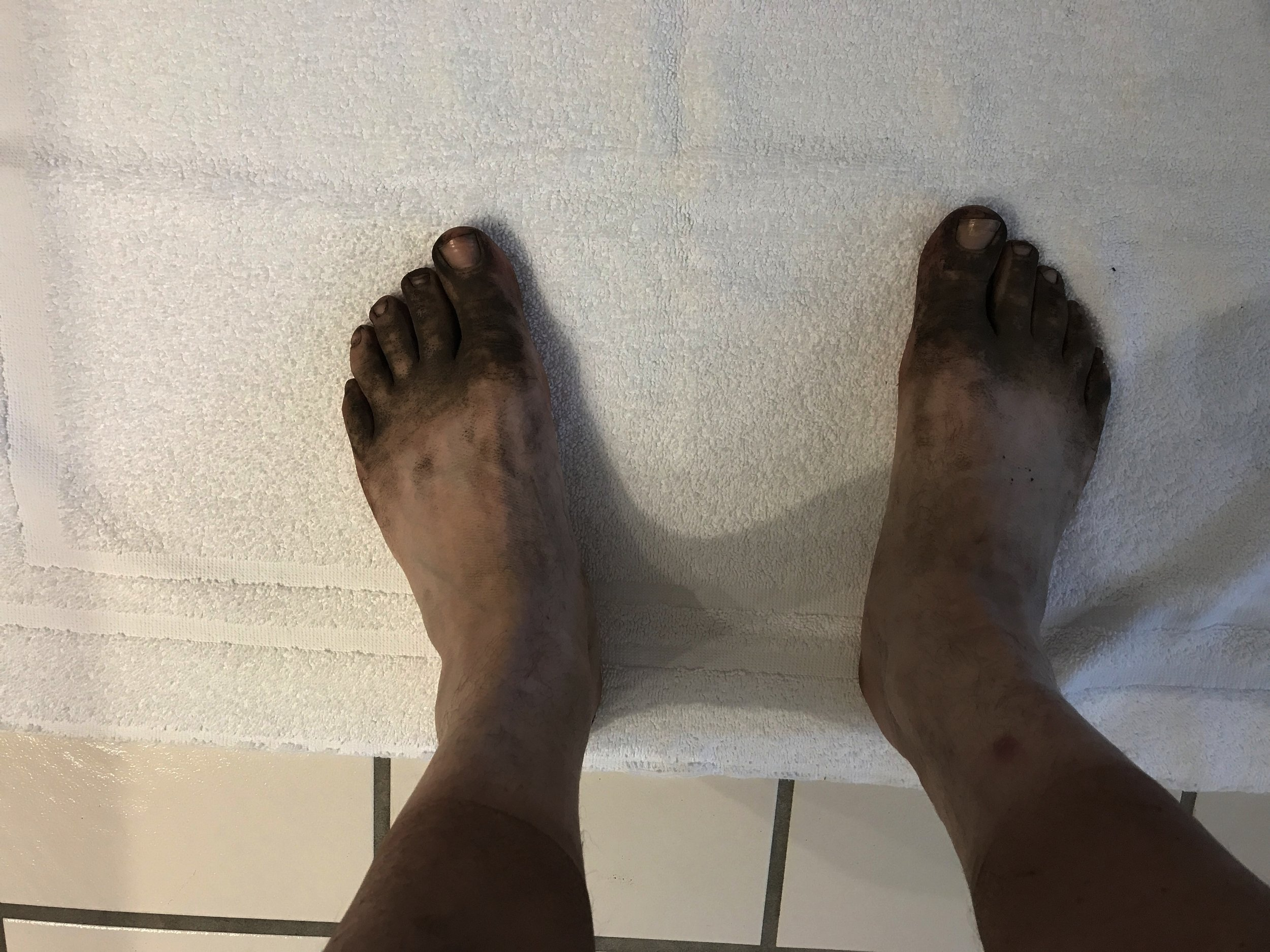 Taken prior to my first shower since getting off the trial. My feet were feeling pretty beat up.
