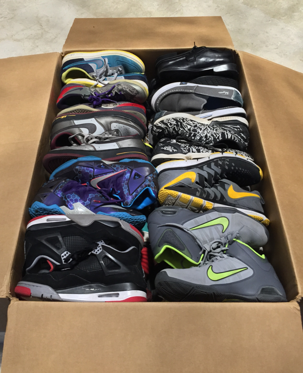 Sole Relief's first donation to Soles4Soles - 32 pairs of sneakers.