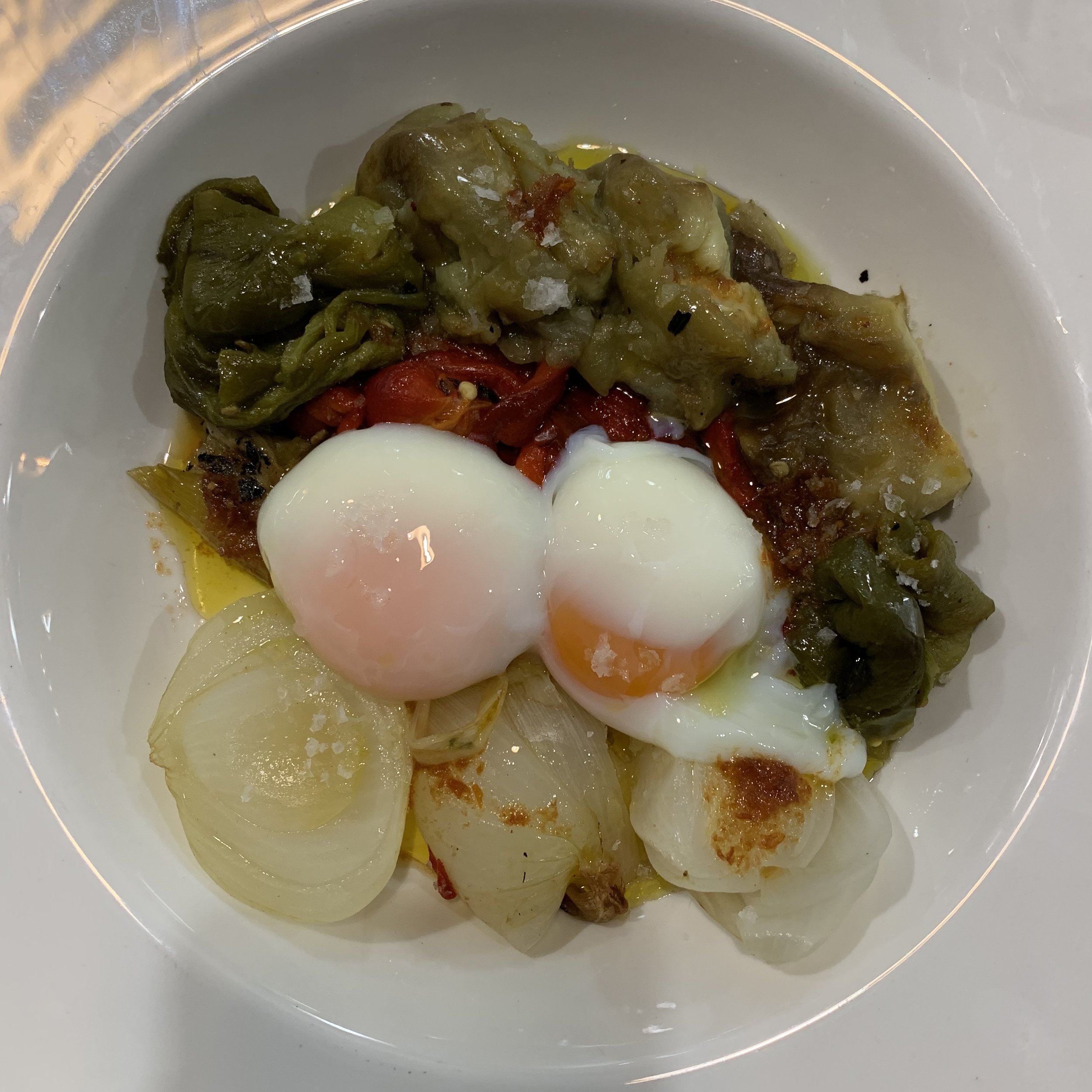 Escalivada with Poached Egg