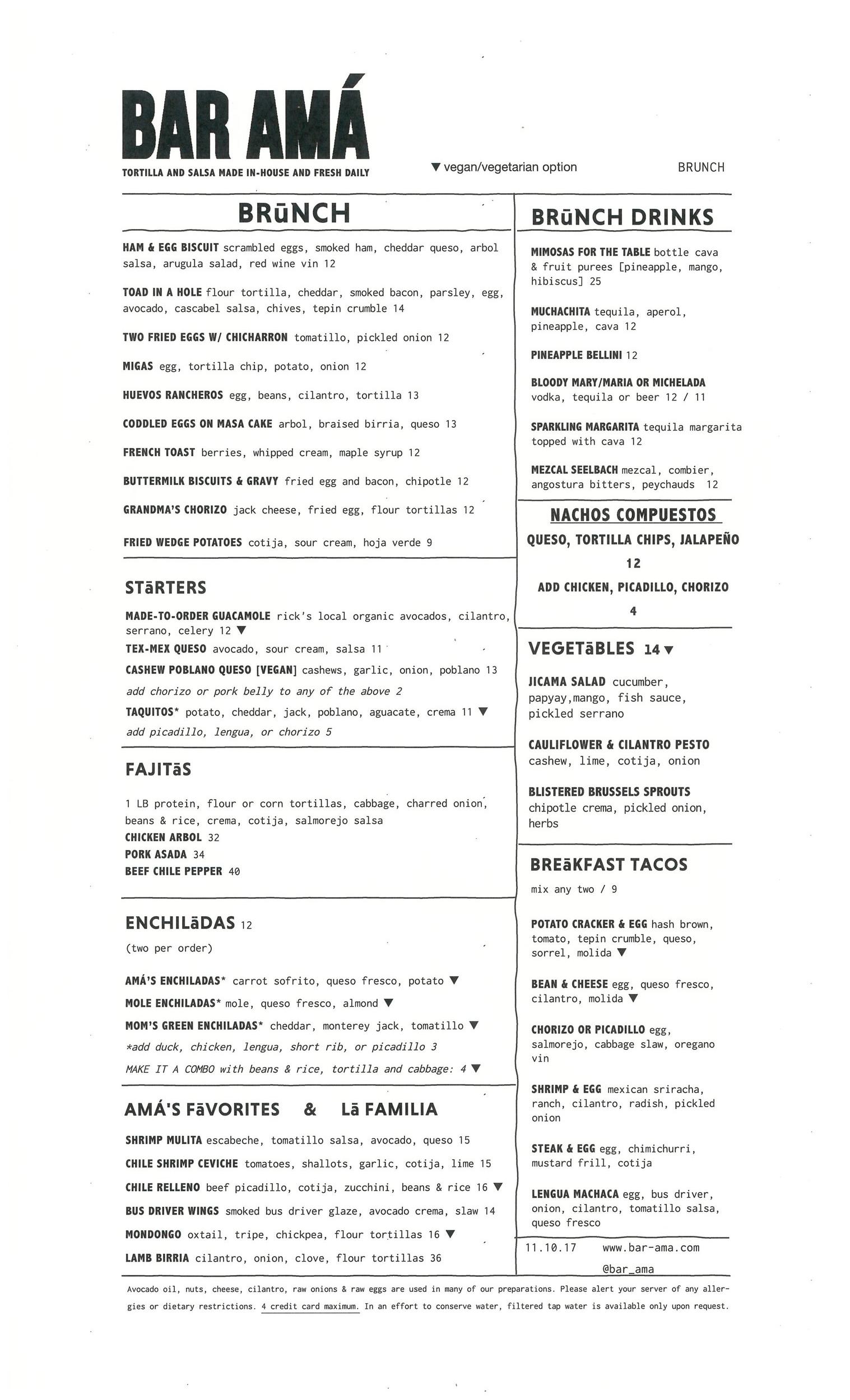 brunch menu: starters, brunch specialties, fajitas, enchiladas, Amá's favorites, vegetables, breakfast tacos, brunch drinks