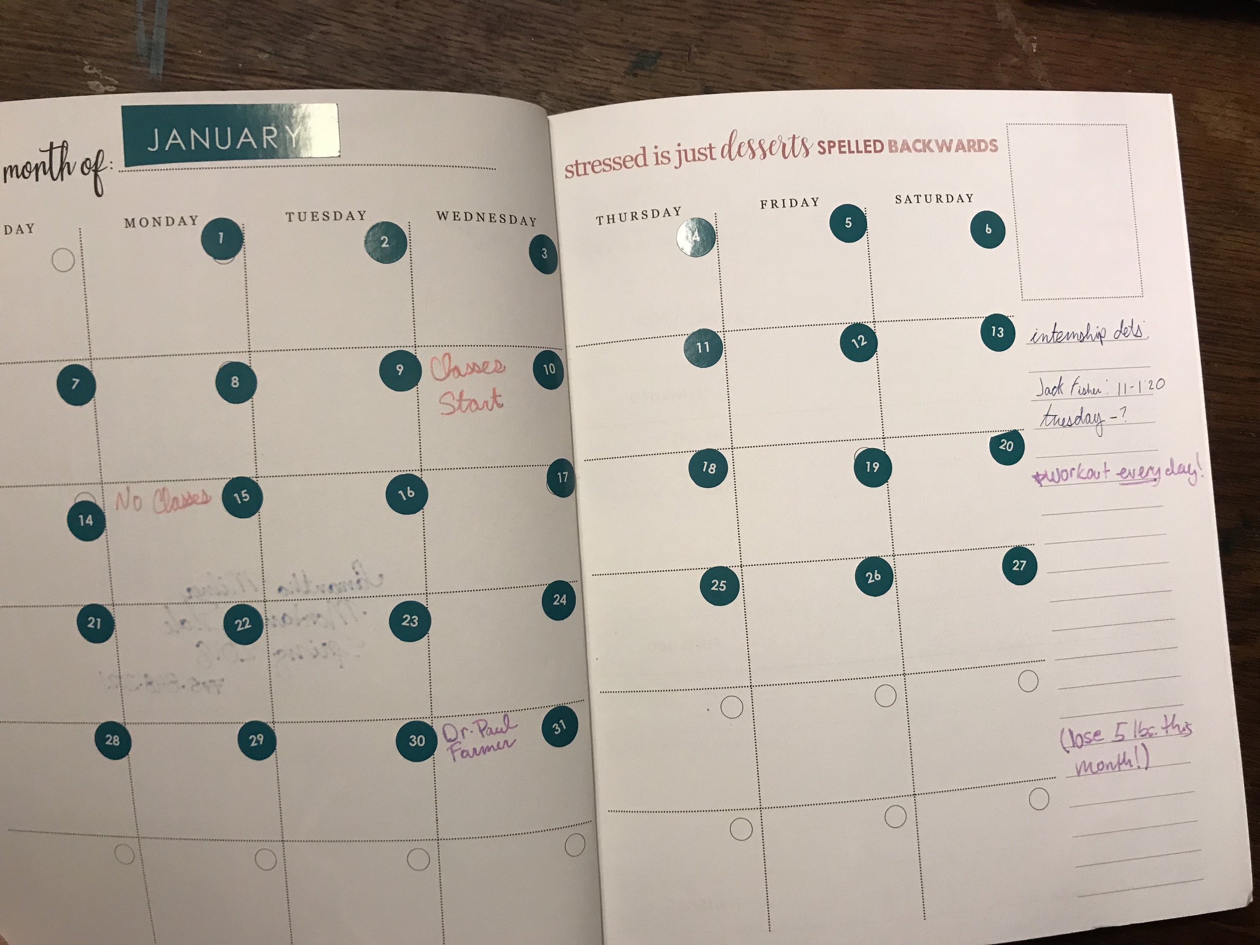 The monthly spread, I realized the stickers is not my favorite way to mark dates.