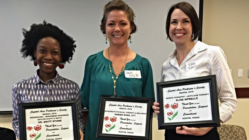 Left to Right :  Dr. Britt Stone (Movement Disorder Specialist), Dr. Sarah King (Physical Therapist), and Elise Siprielle (Speech-Language Pathologist).  Speaking at the monthly CAPS meeting about medications and PD Rehab.
