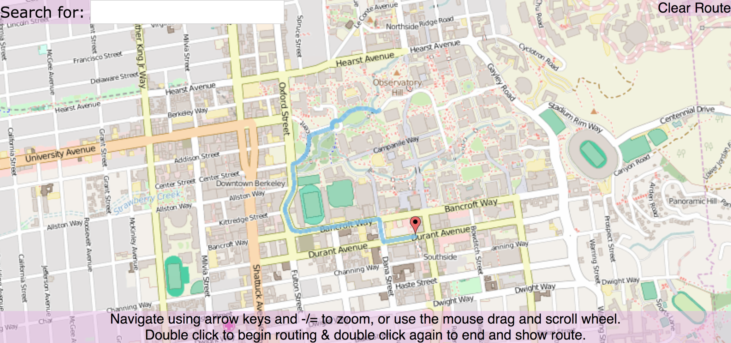 Shortest path from the library to Kip's bar (as you do) using A* search. The background photo for the post title is code from this project - aptly named BearMaps
