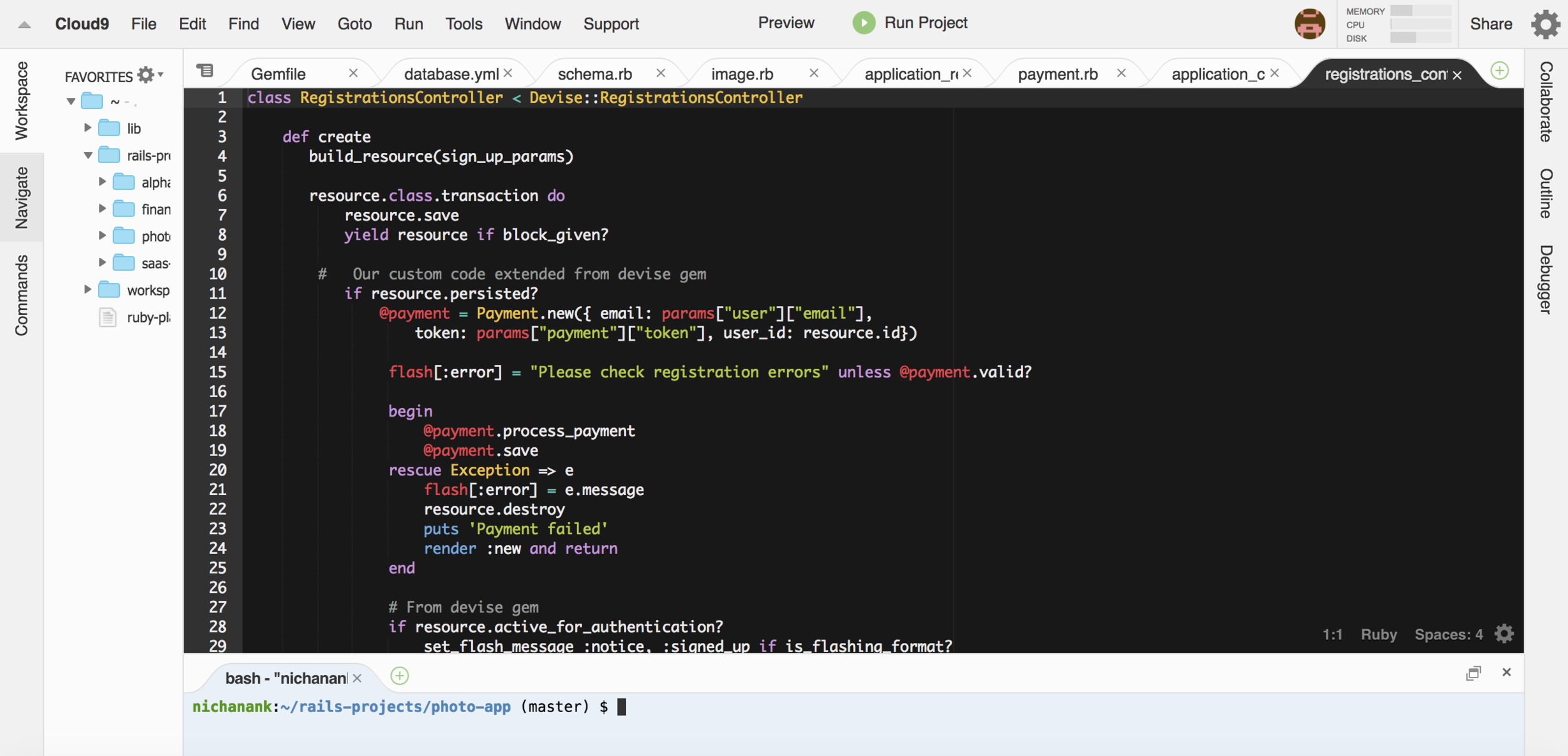 Some Ruby code on Cloud 9, a browser-based IDE.