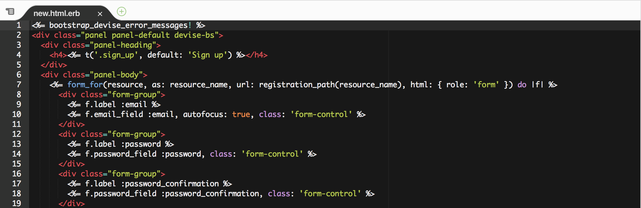 HTML with embedded Ruby.