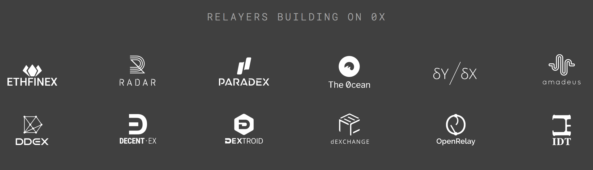 Relayers currently building on 0x, from the  official website  - view the  full list