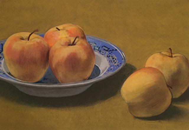 Apples in Blue & White Bowl