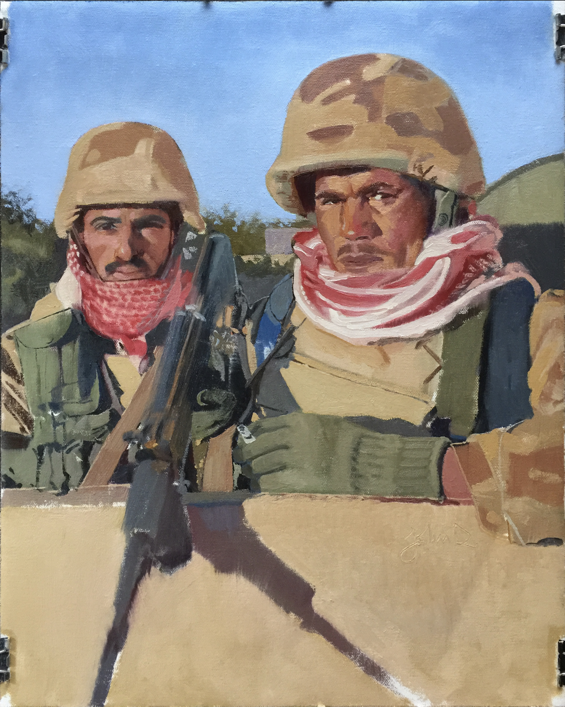 Painting by John Deckert from a photo by and courtesy of WO3 Michael D. Fay, USMC (ret)