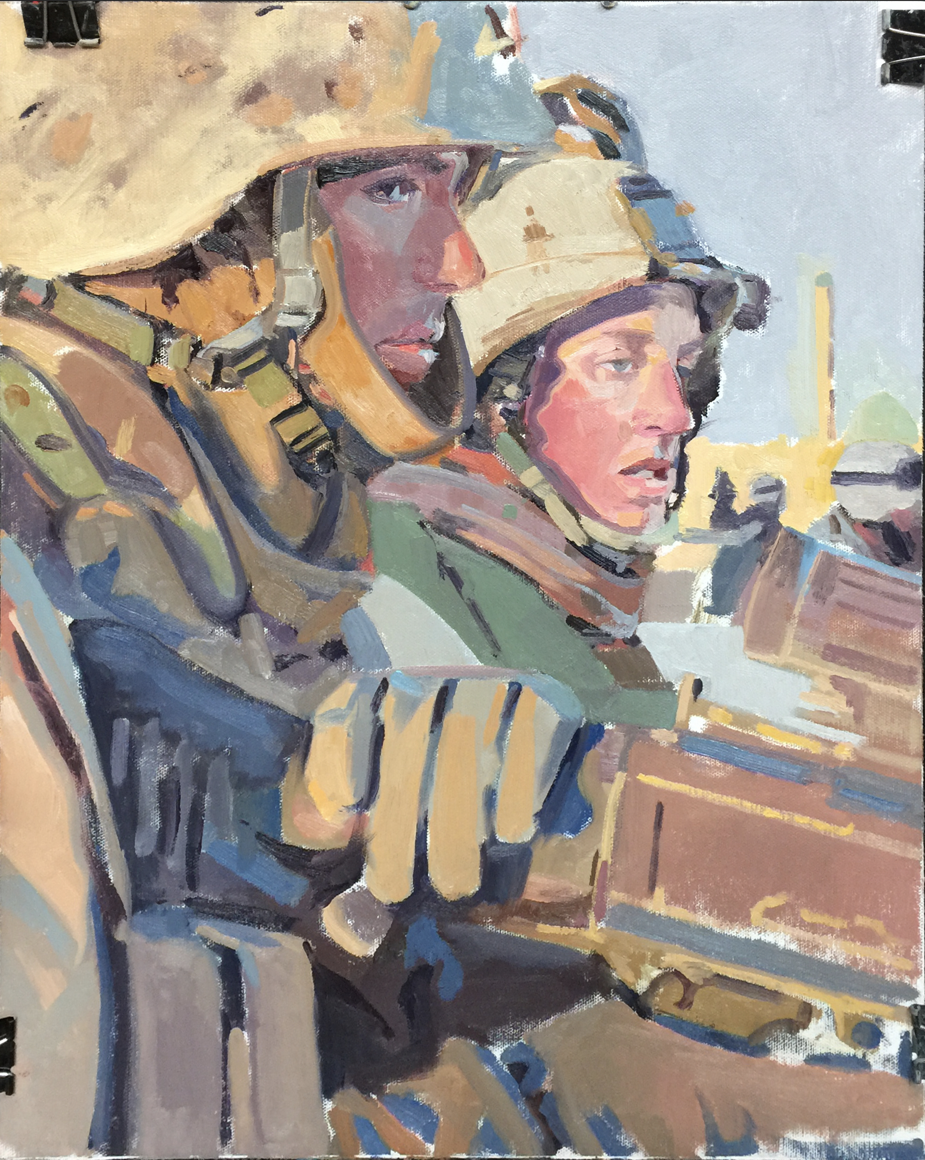 Leary and Deeds -- Painting by John Deckert from a photo by and courtesy of WO3 Michael D. Fay, USMC (ret)