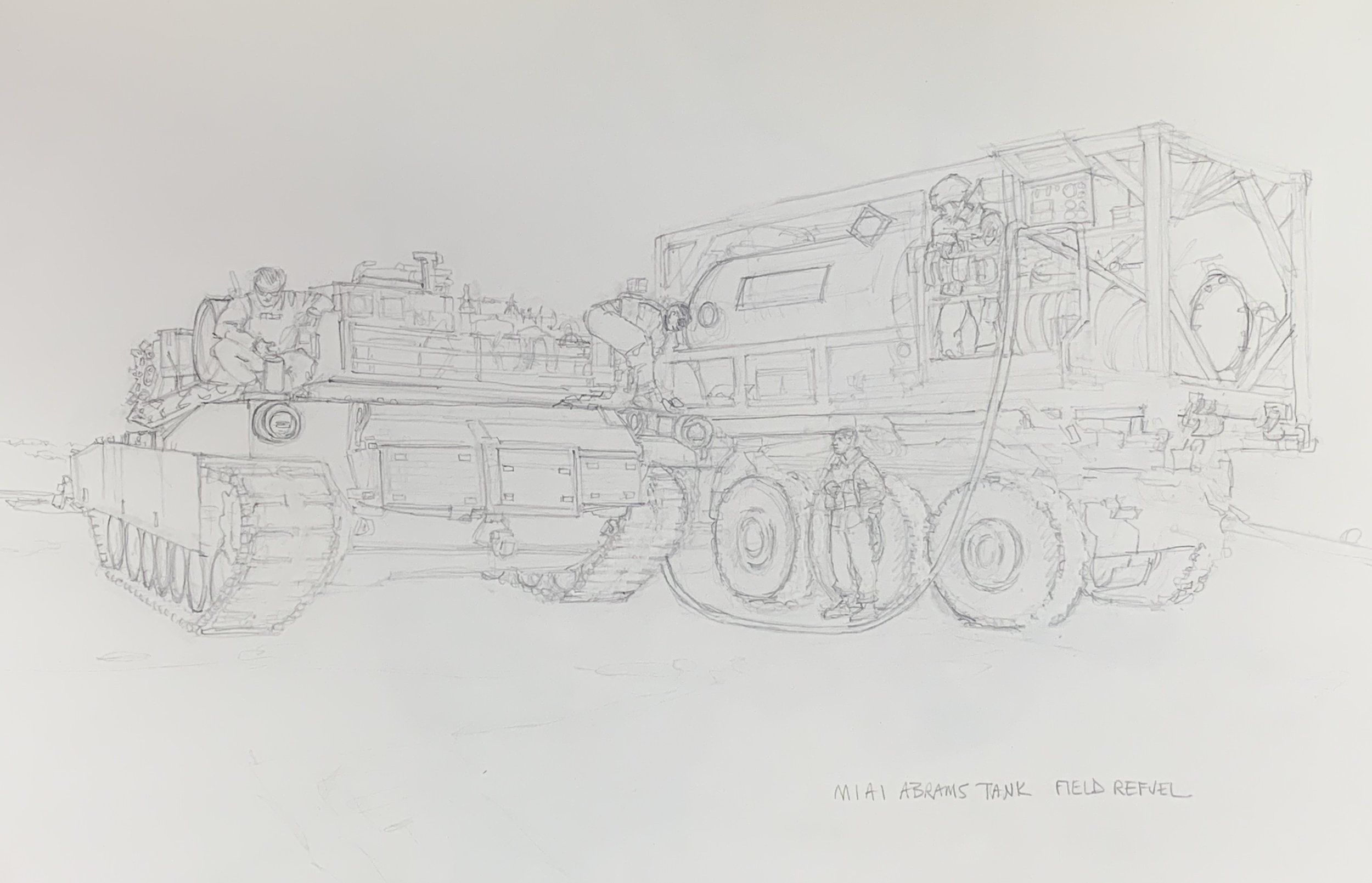 Sketch for a painting: Refueling an M1A1 Abrams 120mm Tank in the field.  1st Marine Division, 1st Tanks, Bravo Company