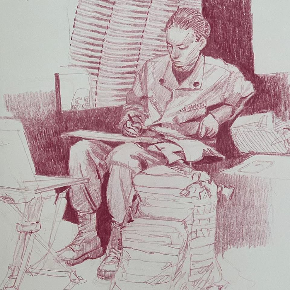 Sergeant Elize McKelvey, Combat Artist. #inkstickart My guide, advisor and patient translator. A fine artist on her own, I was glad to be able to tag along. Thank you Ma'am.