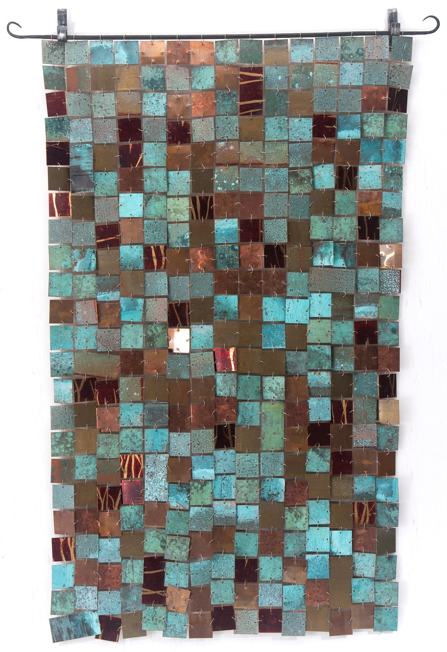 """Reflection on Time""  Copper, brass and forged steel  28.5"" x 50""  Price Guide: $1,125  (Purchased by Duke Clinical Research Institute for the Morris Building in Downtown Durham)"