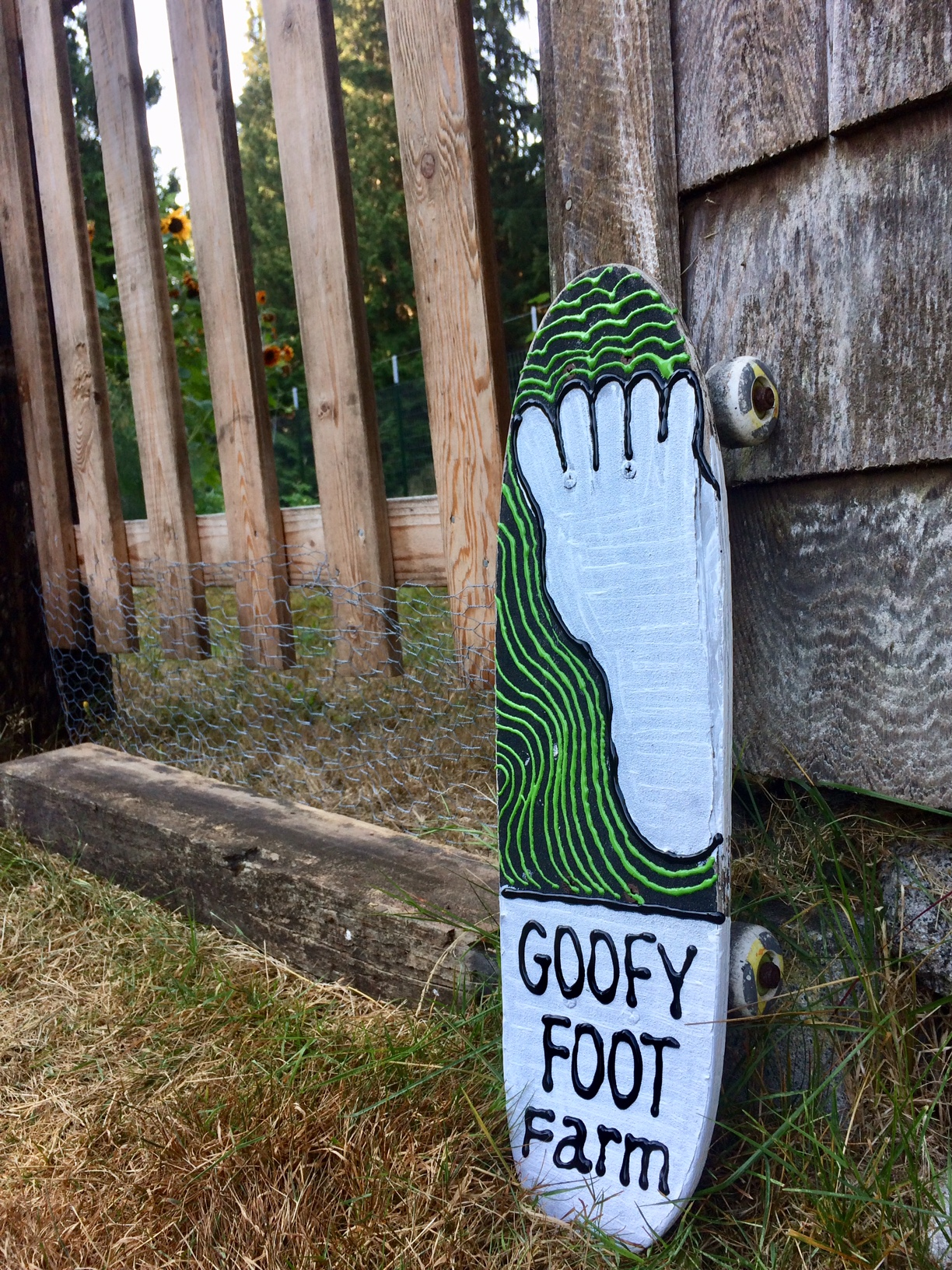 "In surfing and skateboarding, the term ""goofy"" means you are someone who stands with your right foot forward. If you stand with your left foot in front, then you are ""regular"". When we saw a beat-up skateboard and acrylic paints in the free pile, we knew we had just what we needed for a new garden sign. Been eating kale for the past 6 months now—next year we'll need to diversify plantings at Goofy Foot Farm."